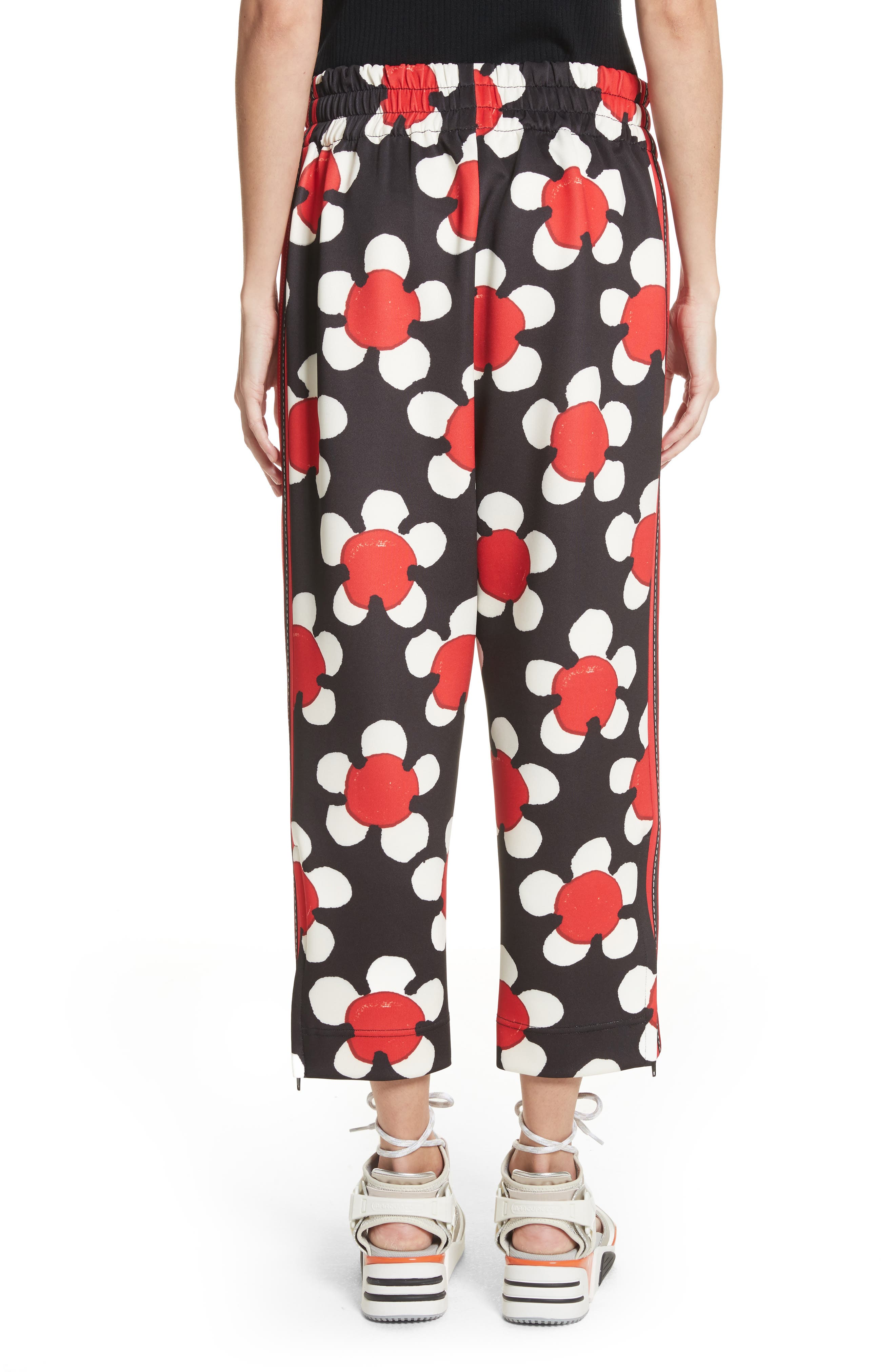 Floral Print Crop Track Pants,                             Alternate thumbnail 2, color,                             Red Multi