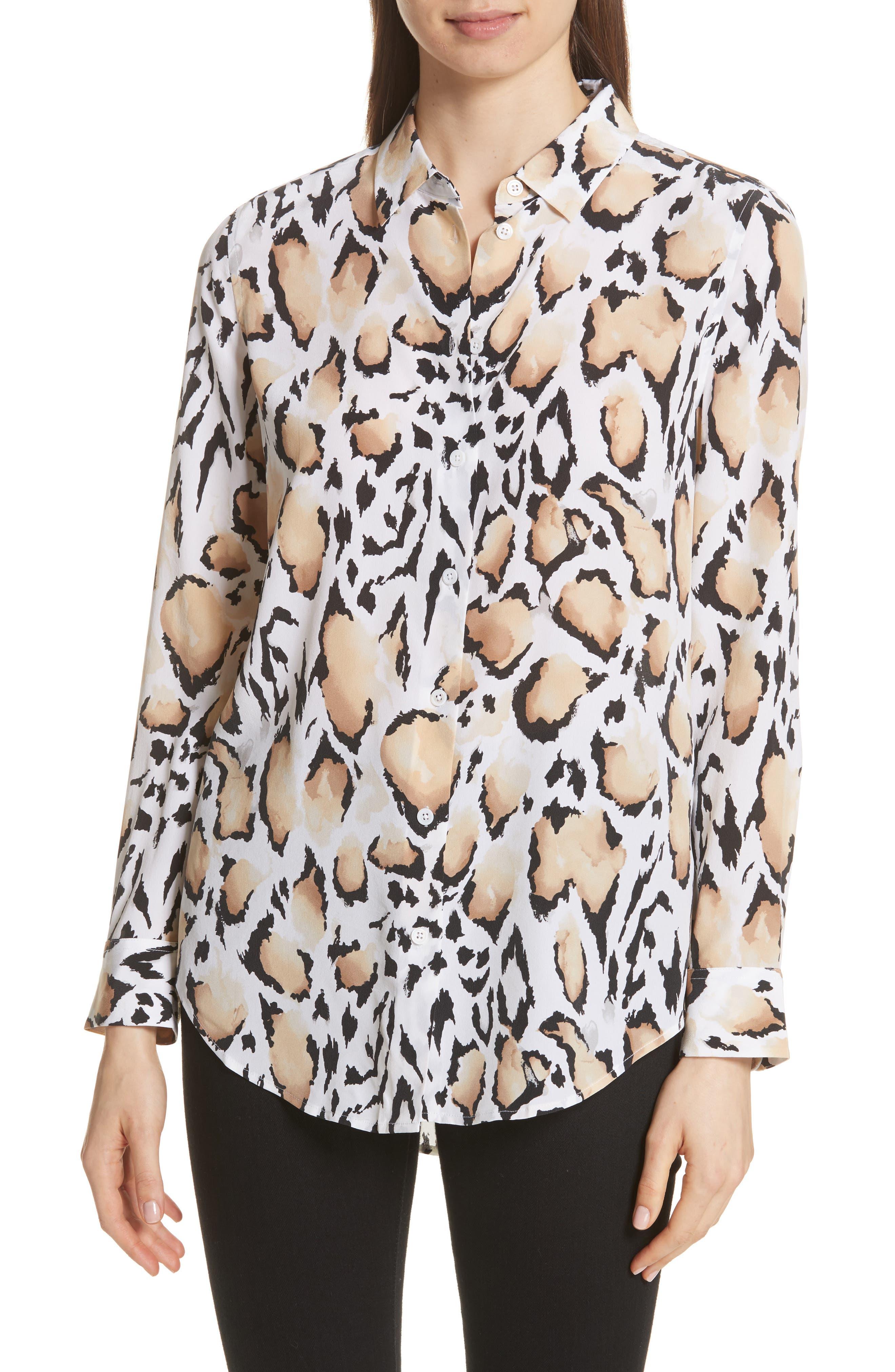 Essential Animal Print Silk Shirt,                         Main,                         color, Bright White Multi