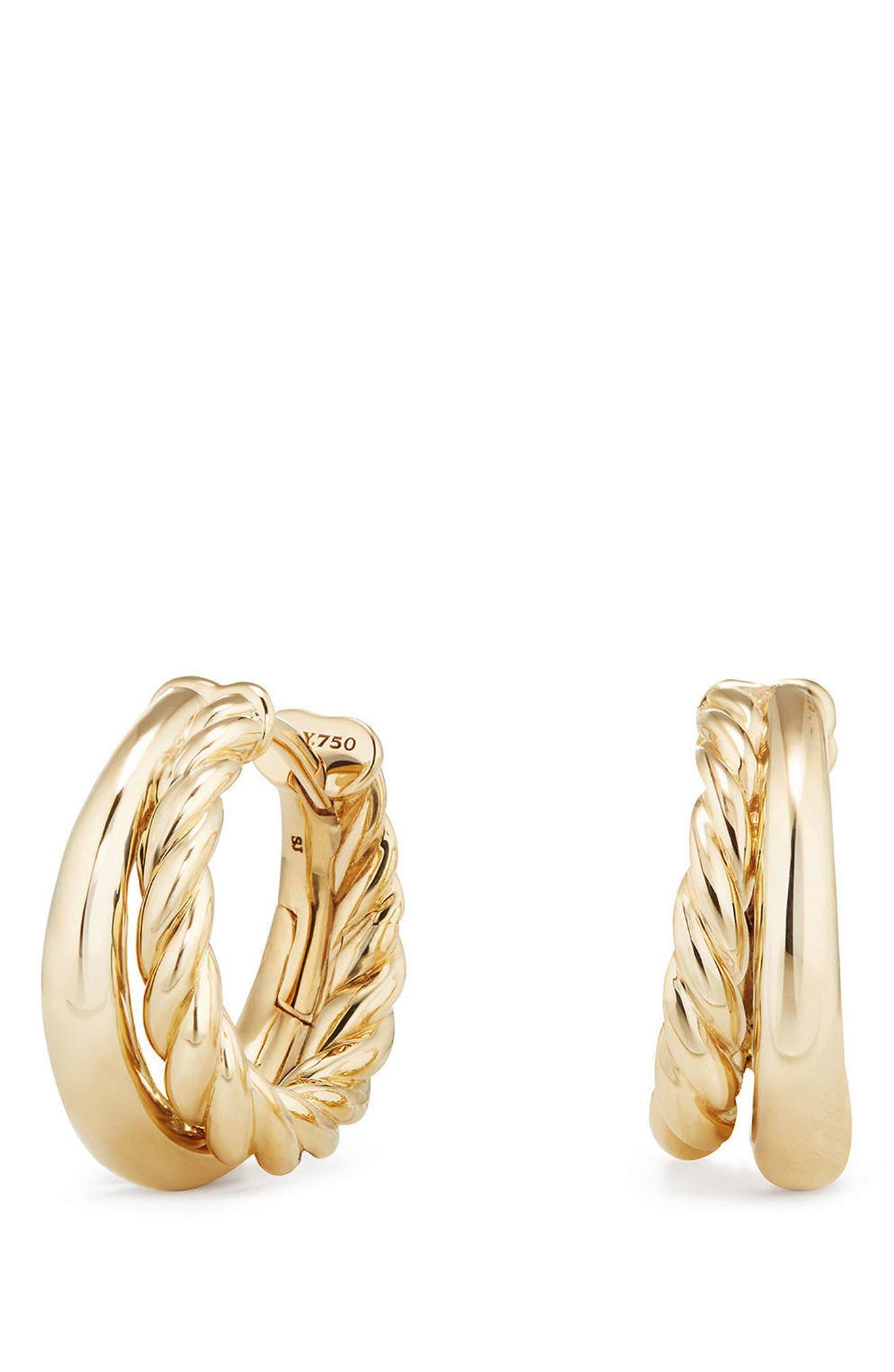 david yurman pure form hoop earrings in 18k gold 12mm