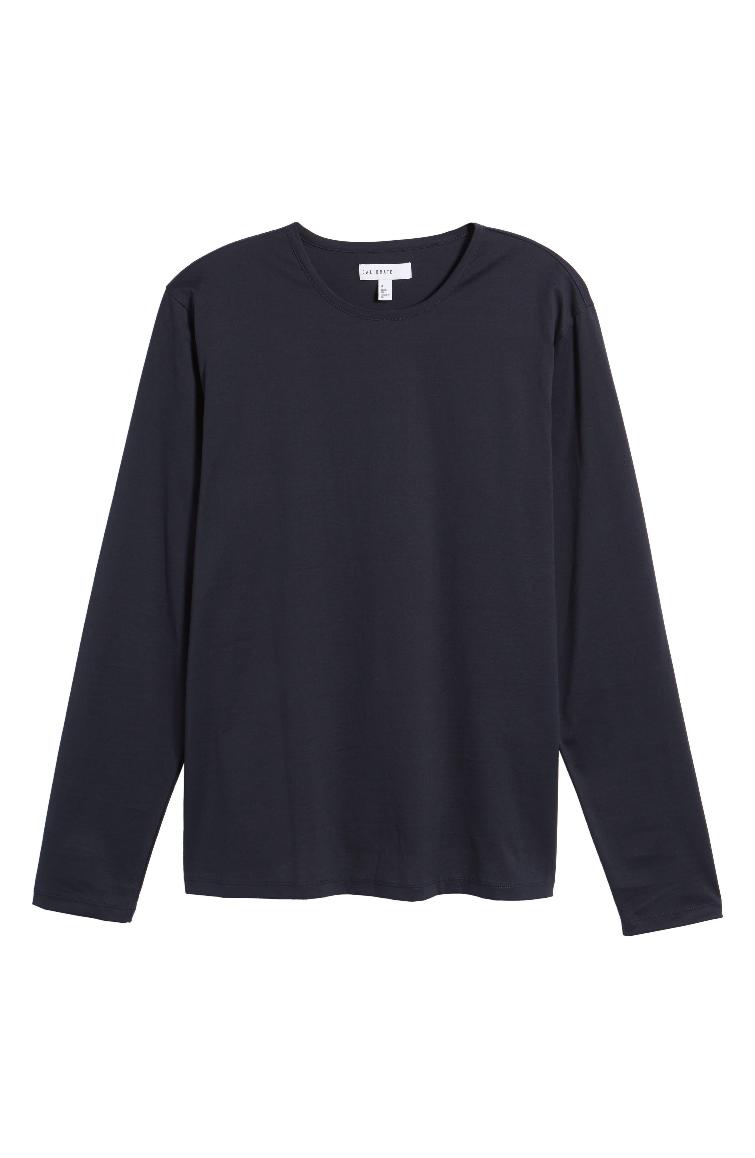 Mercerized Cotton Crewneck Long Sleeve T-Shirt,                             Alternate thumbnail 6, color,                             Navy Night