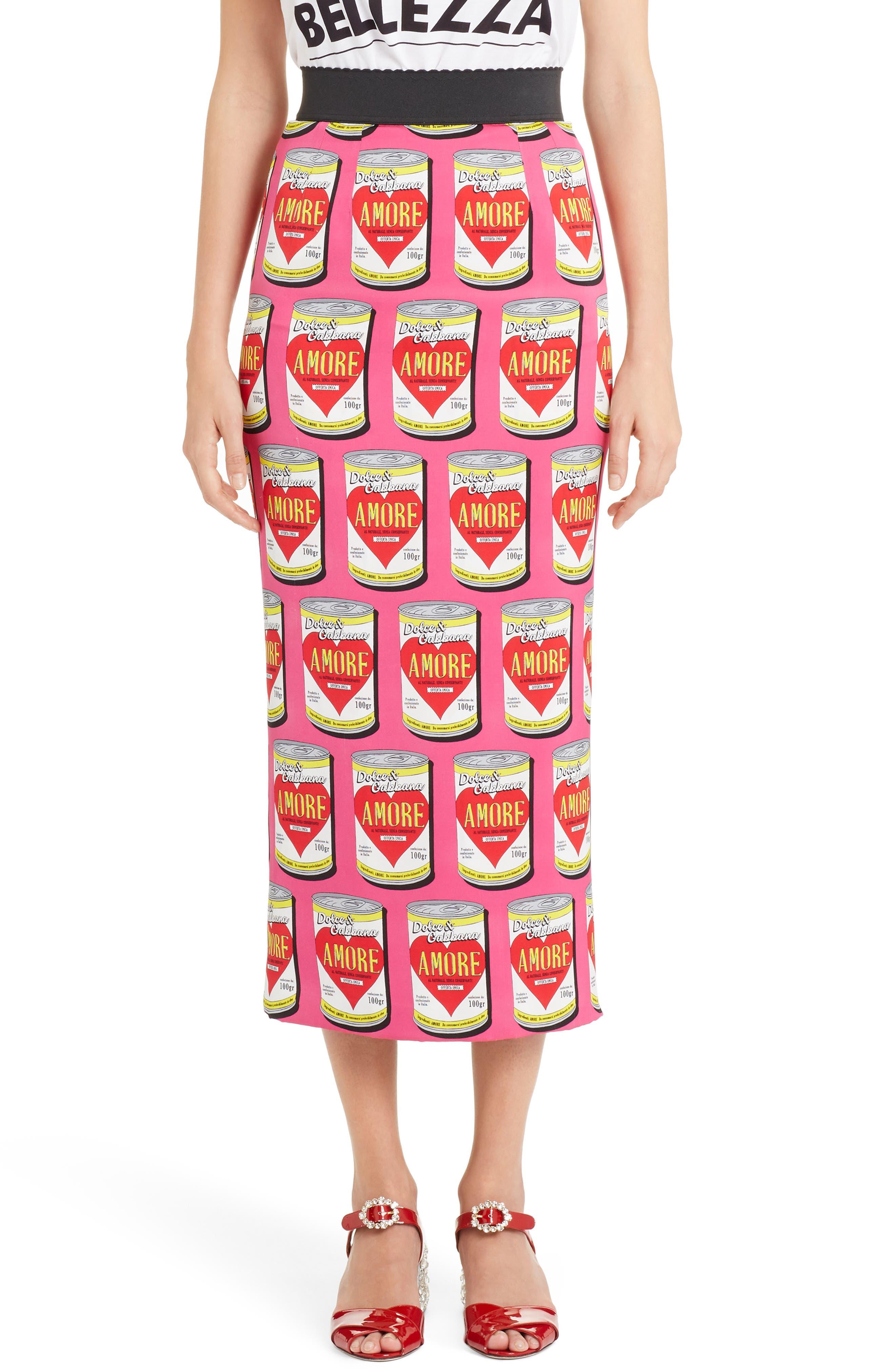 Dolce&Gabbana Can Print Silk Blend Charmeuse Pencil Skirt