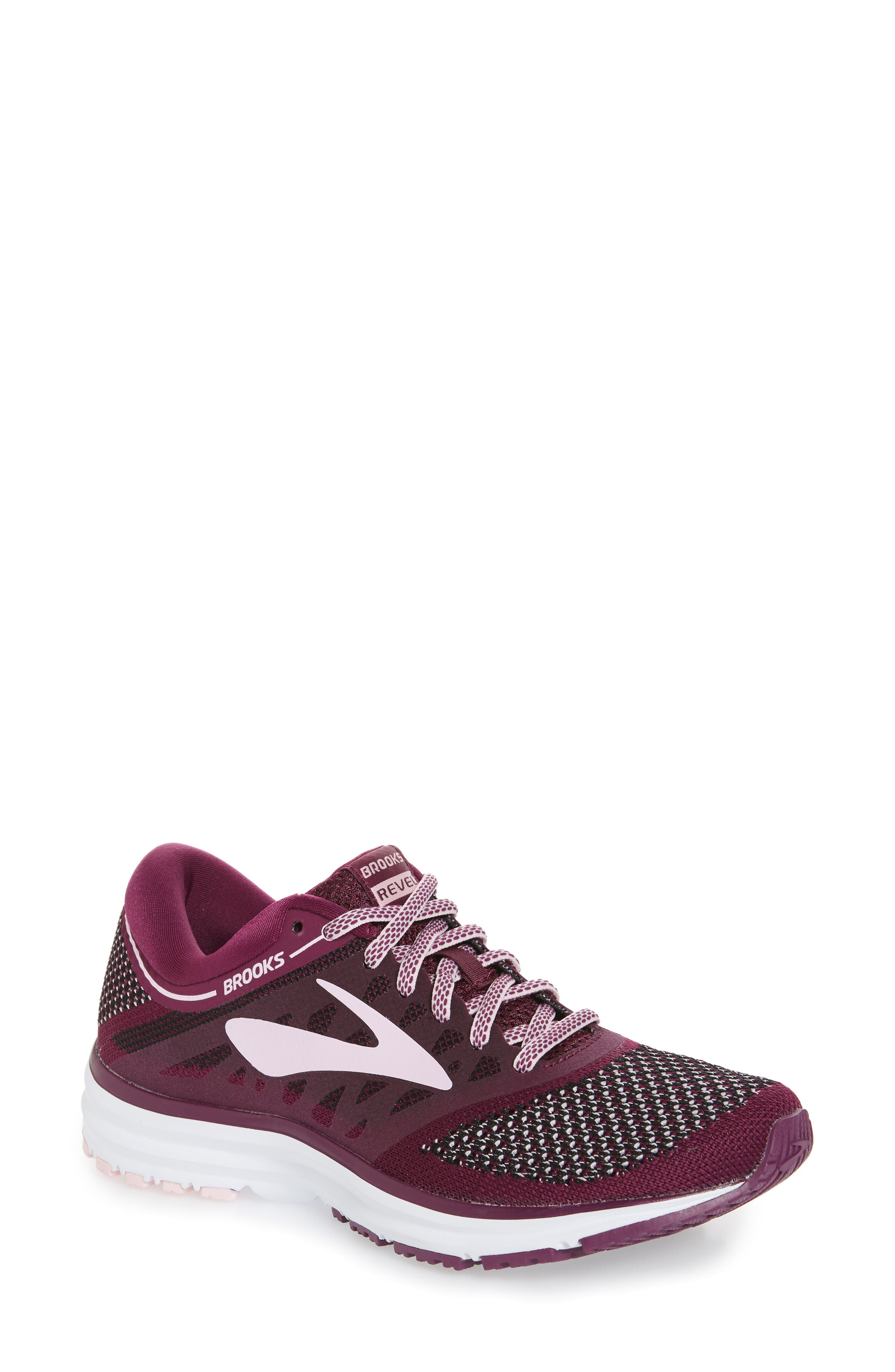 Revel Running Shoe,                             Main thumbnail 1, color,                             Plum/ Pink/ Black