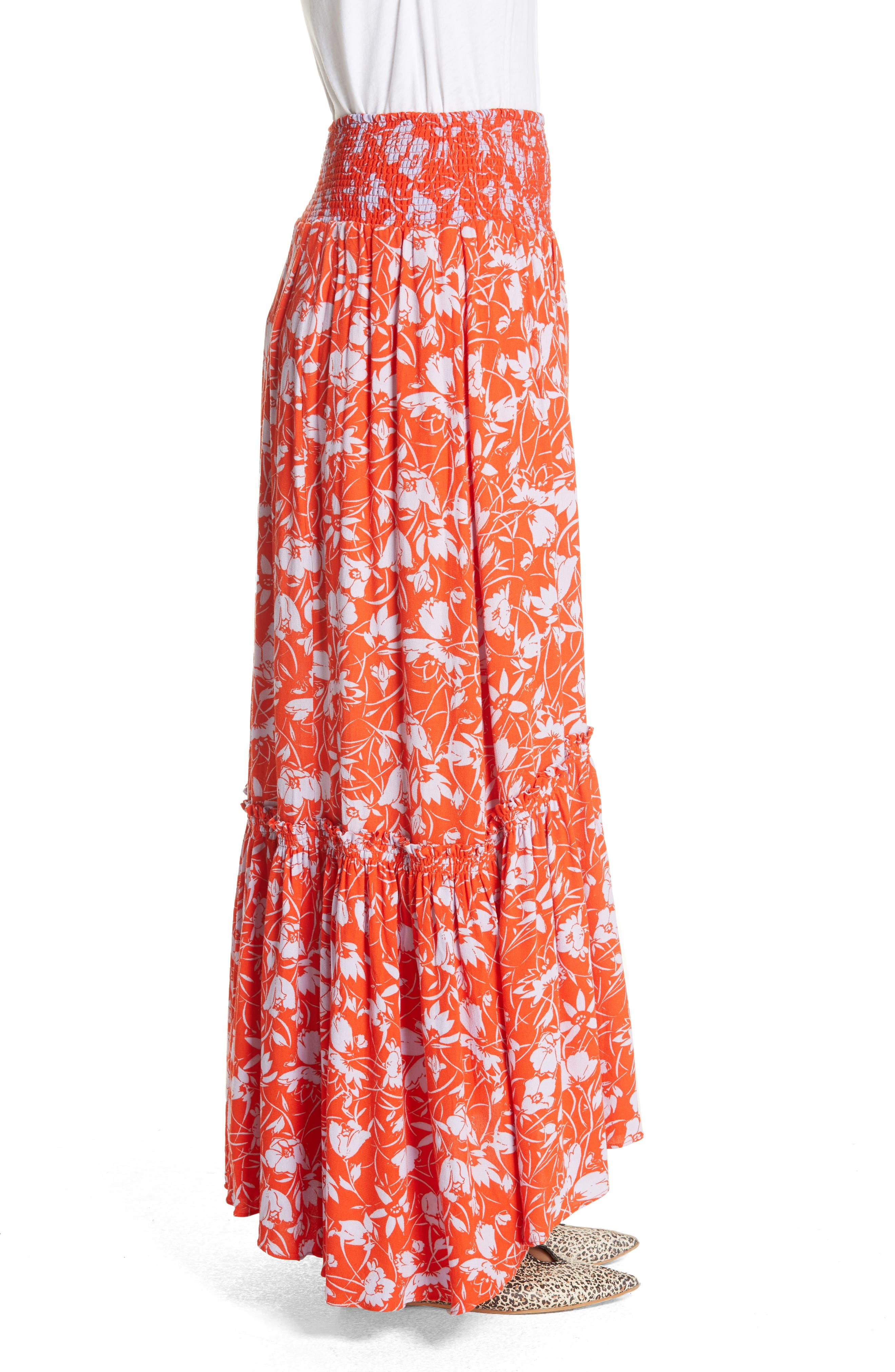 Way of the Wind Print Maxi Skirt,                             Alternate thumbnail 3, color,                             Red