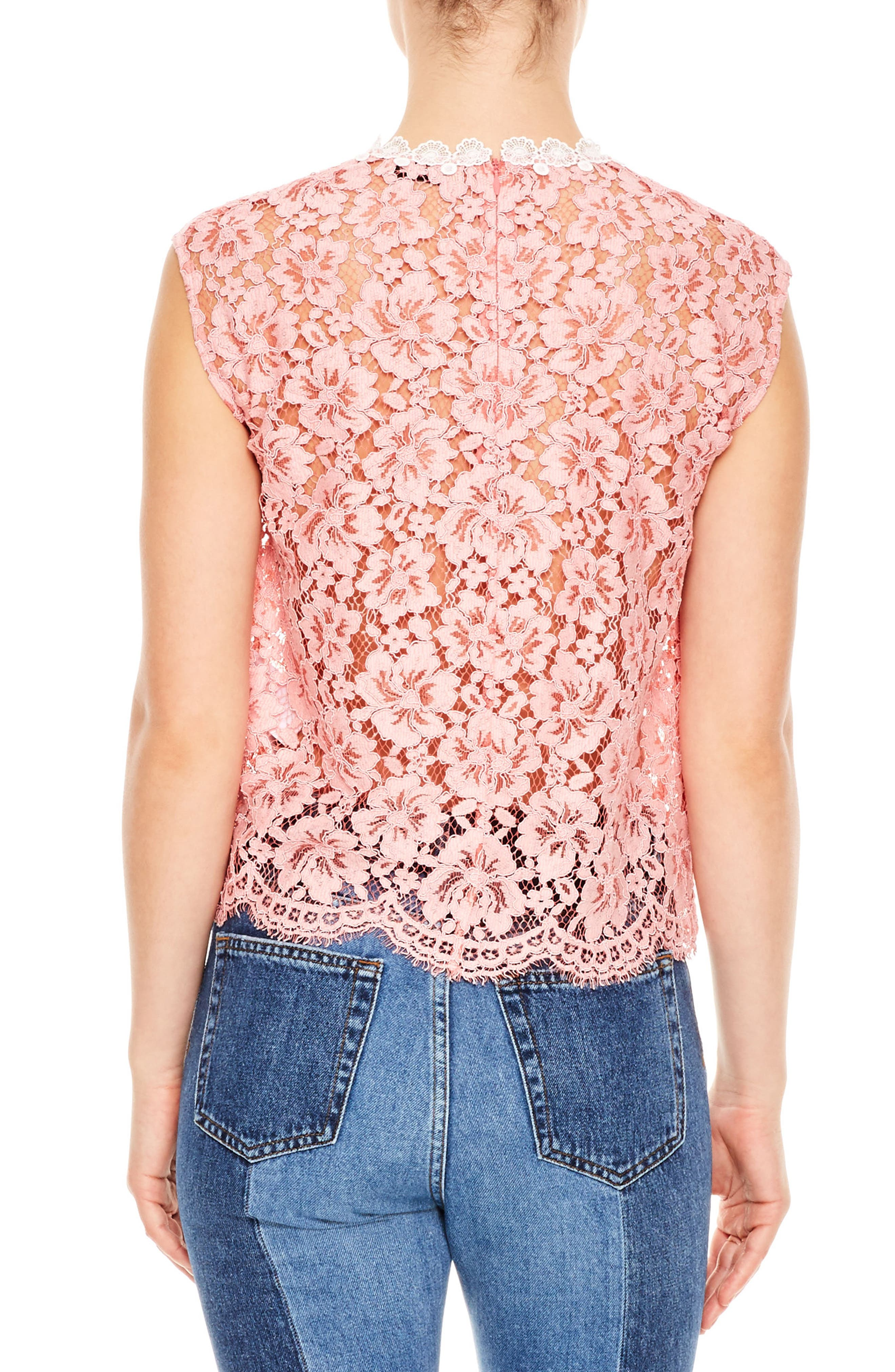 Rose Floral Lace Sleeveless Blouse,                             Alternate thumbnail 2, color,                             Pink