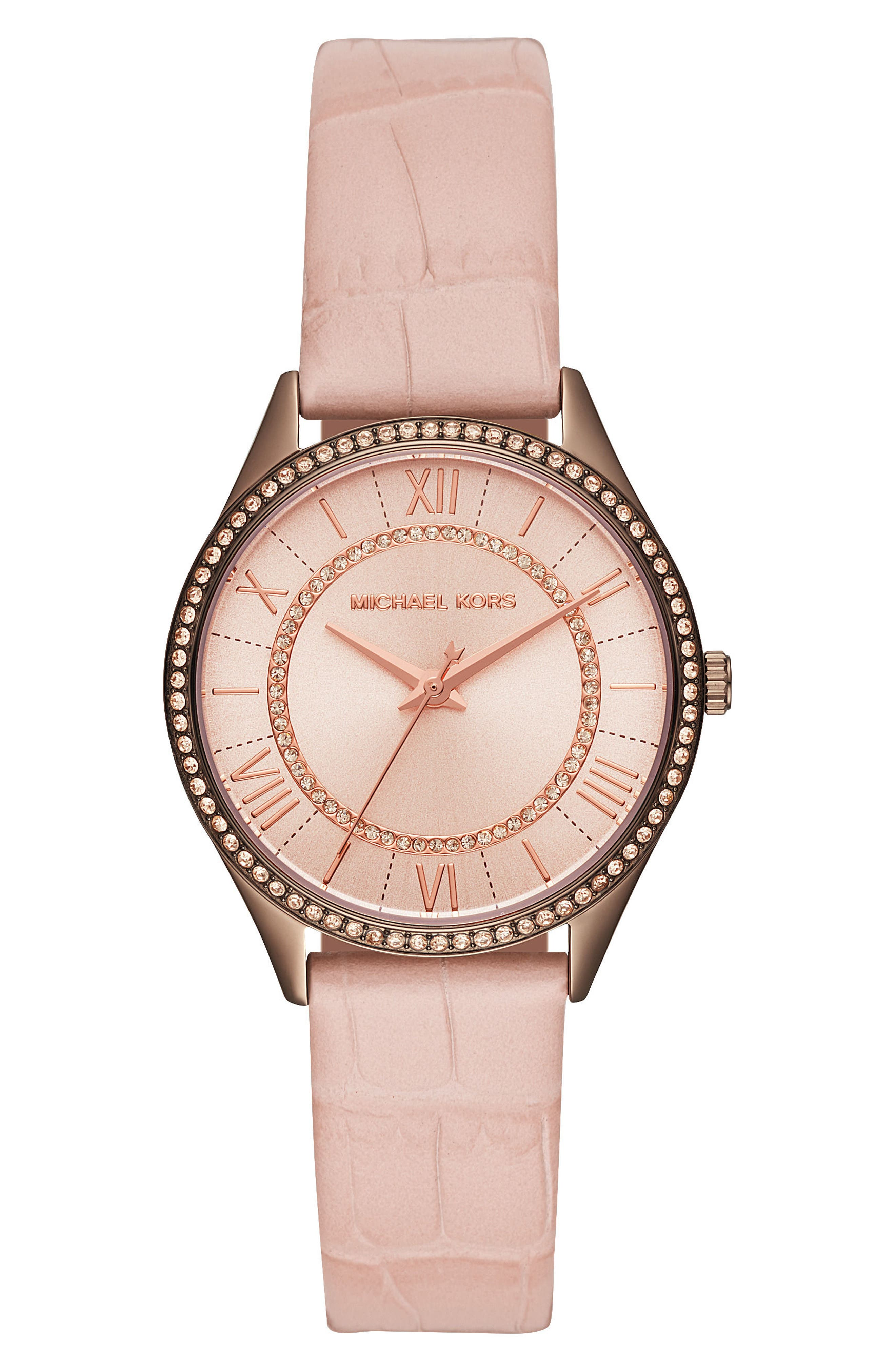 Lauryn Leather Strap Watch, 33mm,                         Main,                         color, Pink/ Rose Gold/ Brown