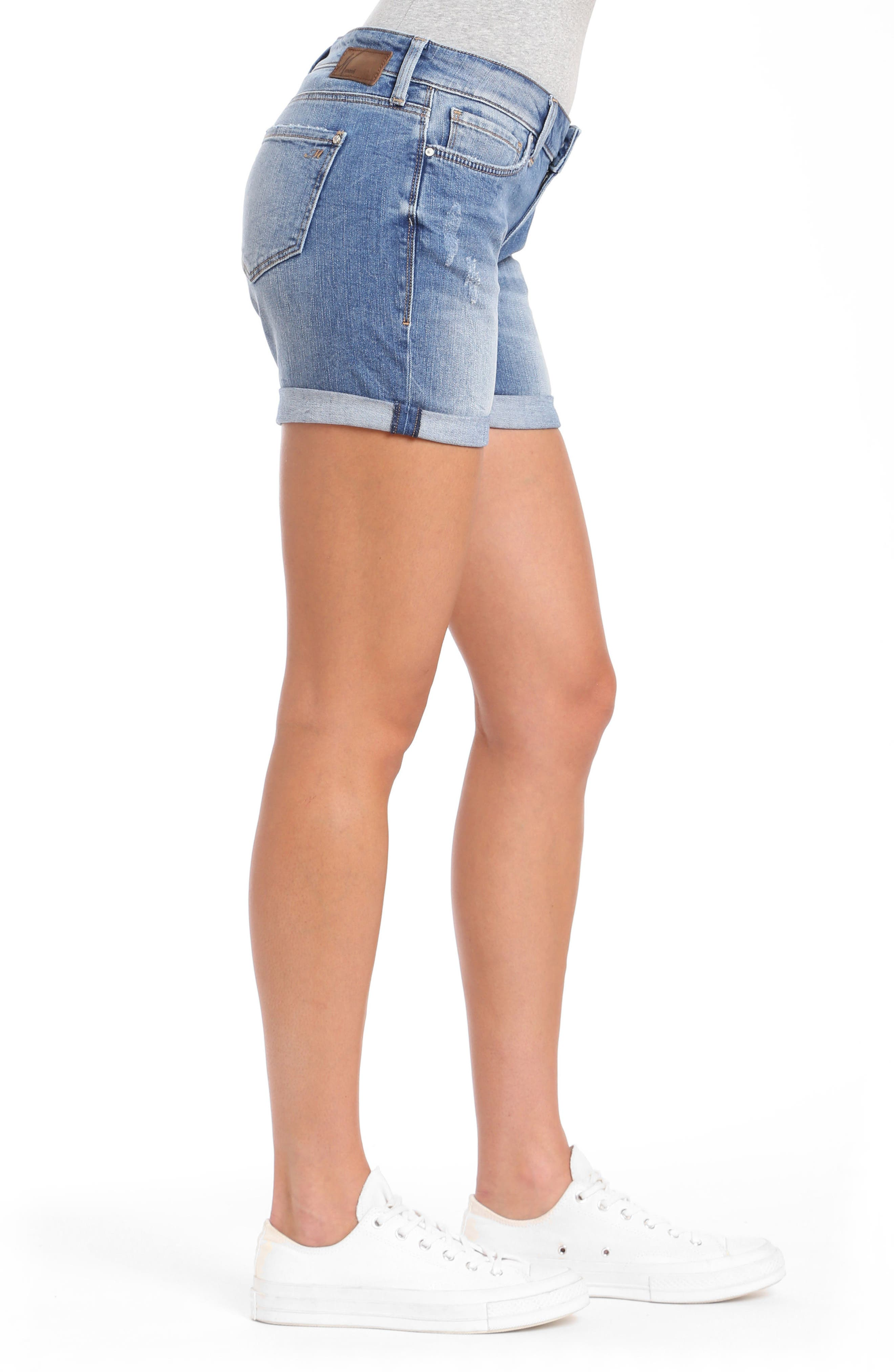 Pixie Denim Boyfriend Shorts,                             Alternate thumbnail 3, color,                             Distressed Vintage