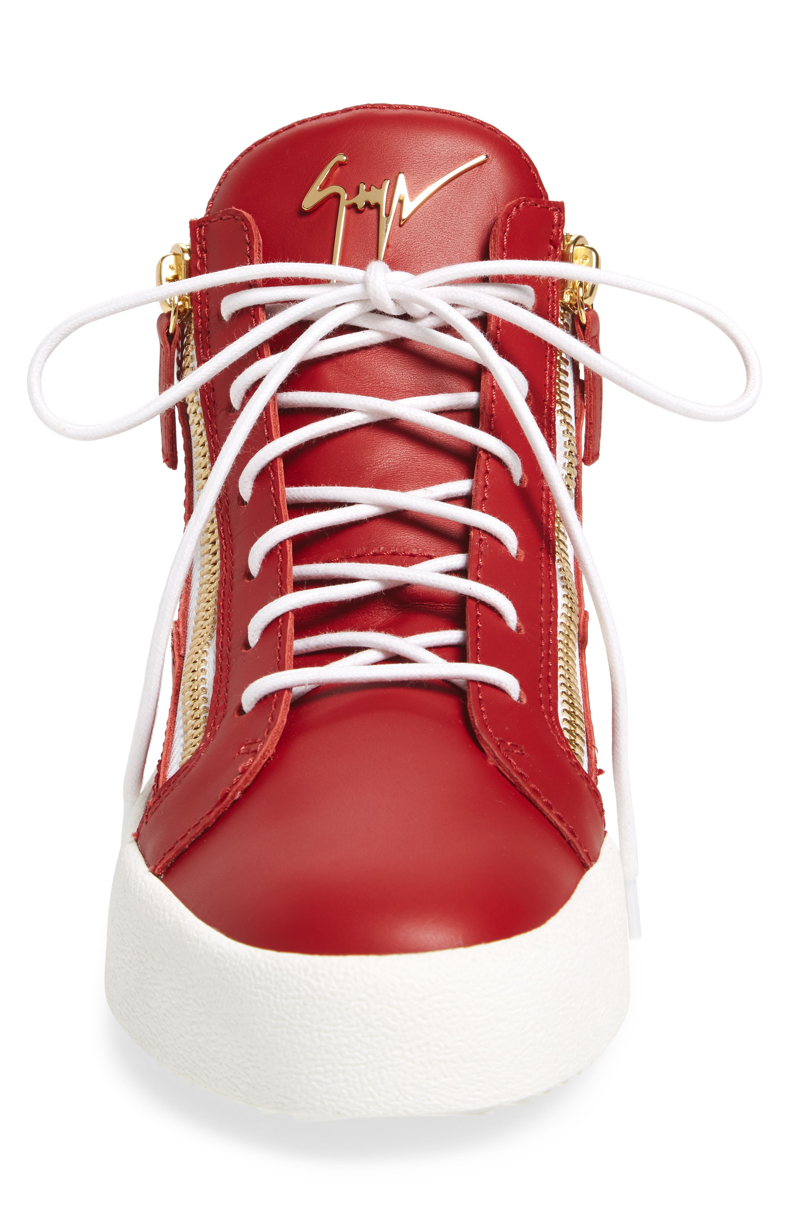 Double Zipper Mid Top Sneaker,                             Alternate thumbnail 4, color,                             Red W/ White Leather