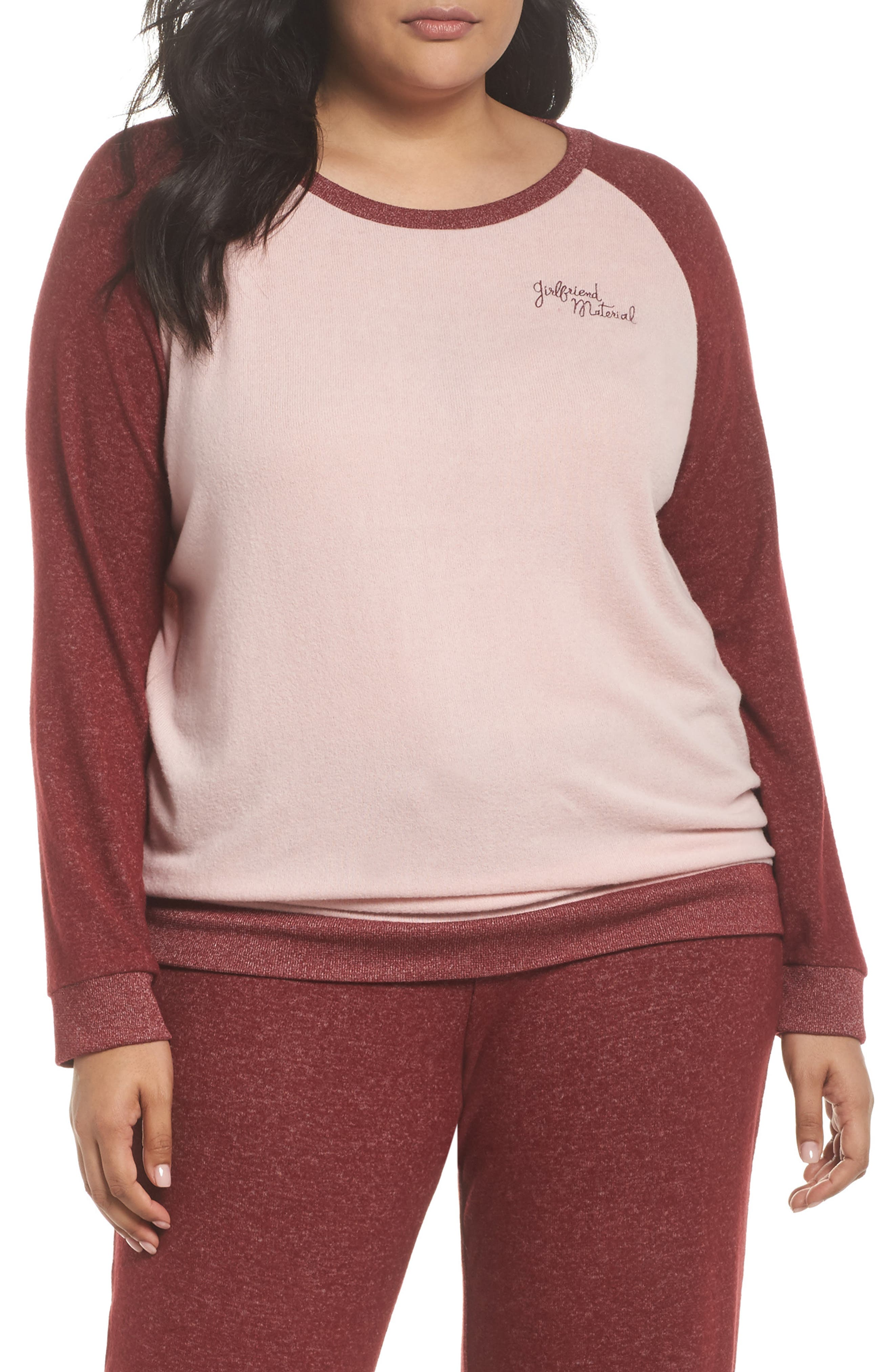 Cozy Crew Lounge Sweater,                         Main,                         color, Red Grape