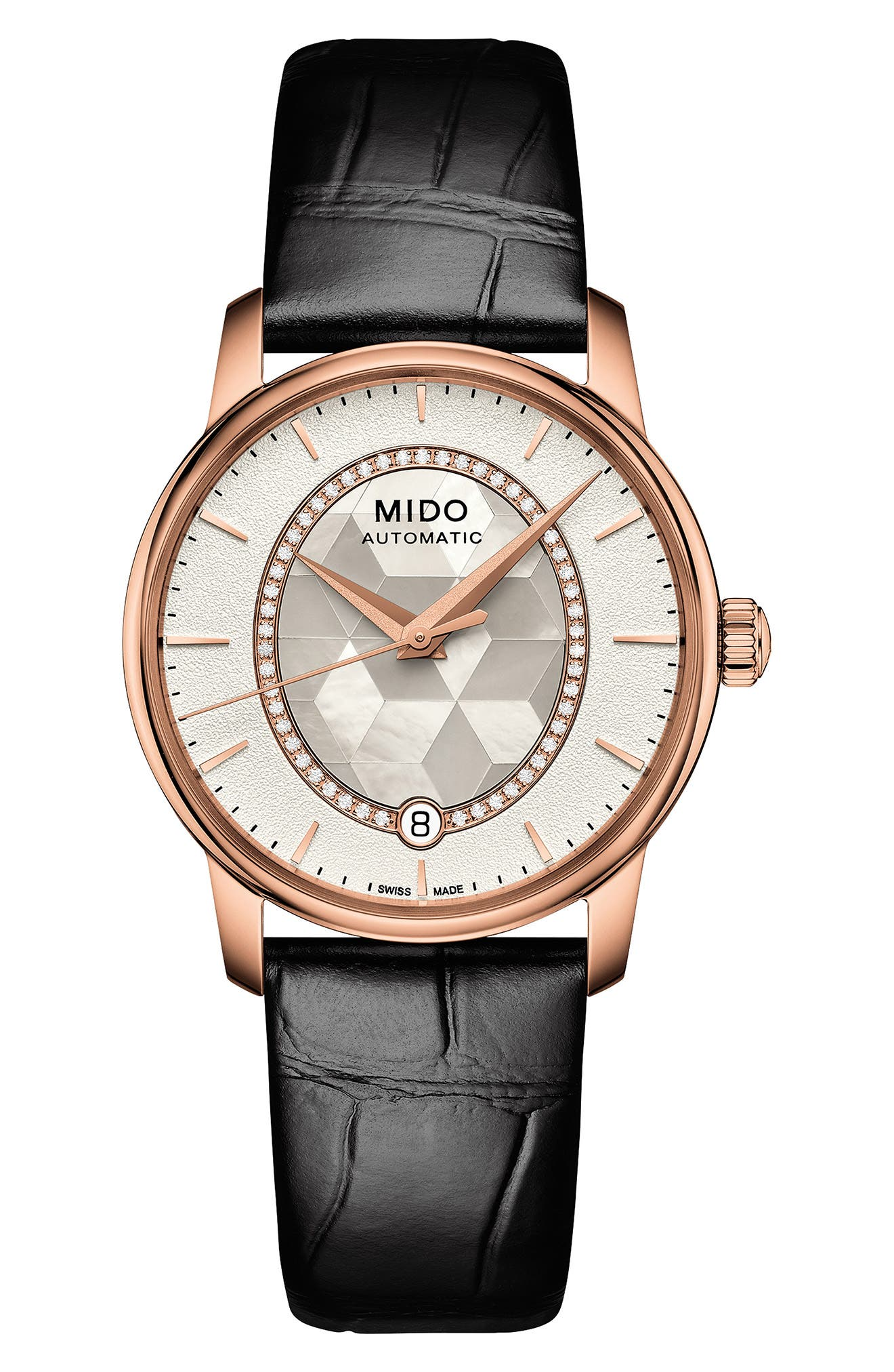 Baroncelli Diamond Leather Strap Watch, 33mm,                         Main,                         color, Black/ Mop/ Rose Gold