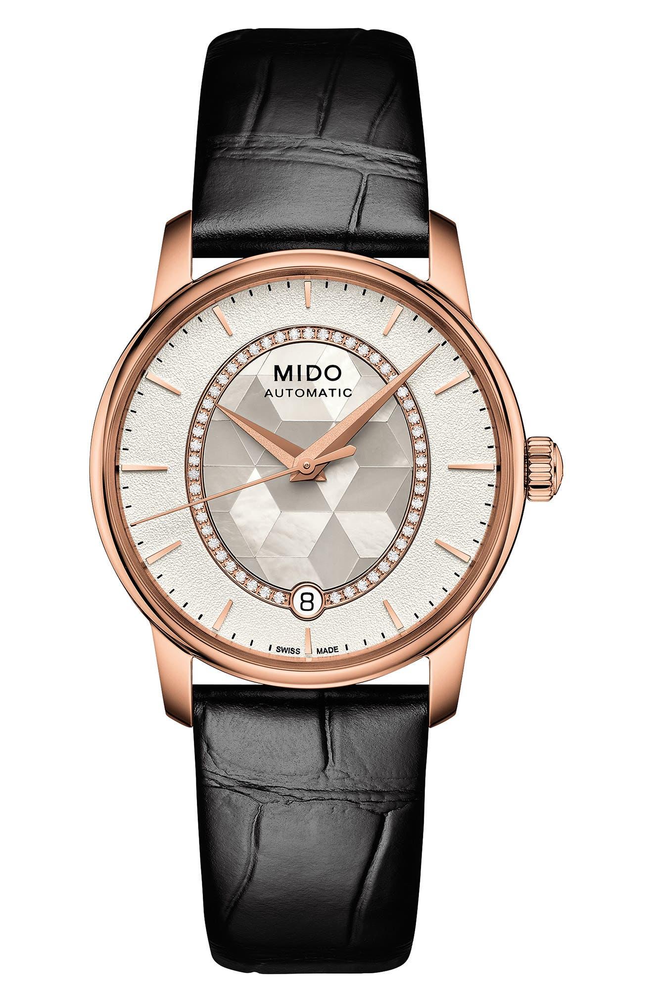 Mido Baroncelli Diamond Leather Strap Watch, 33mm