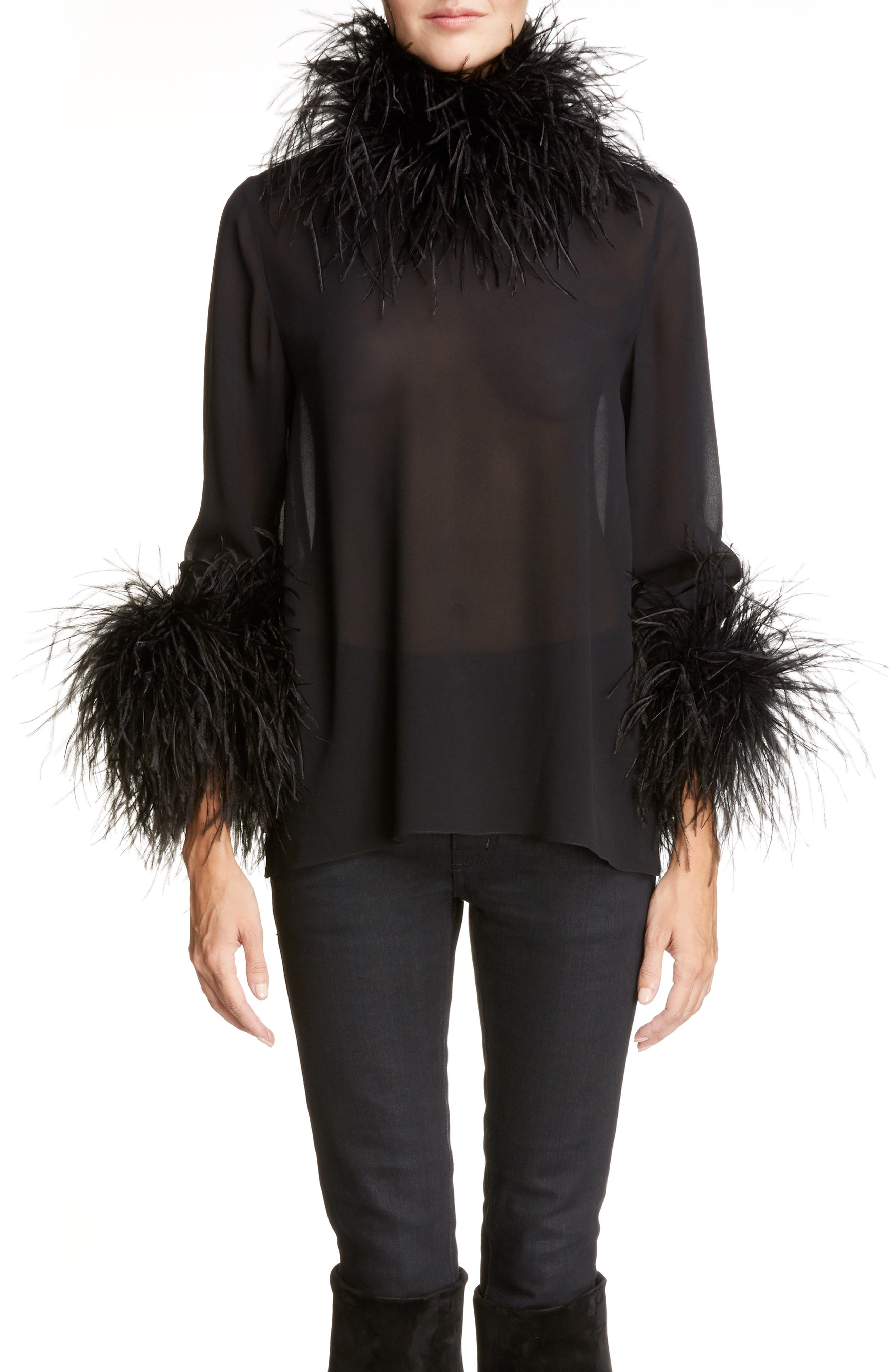 Saint Laurent Ostrich Feather Trim Silk Top