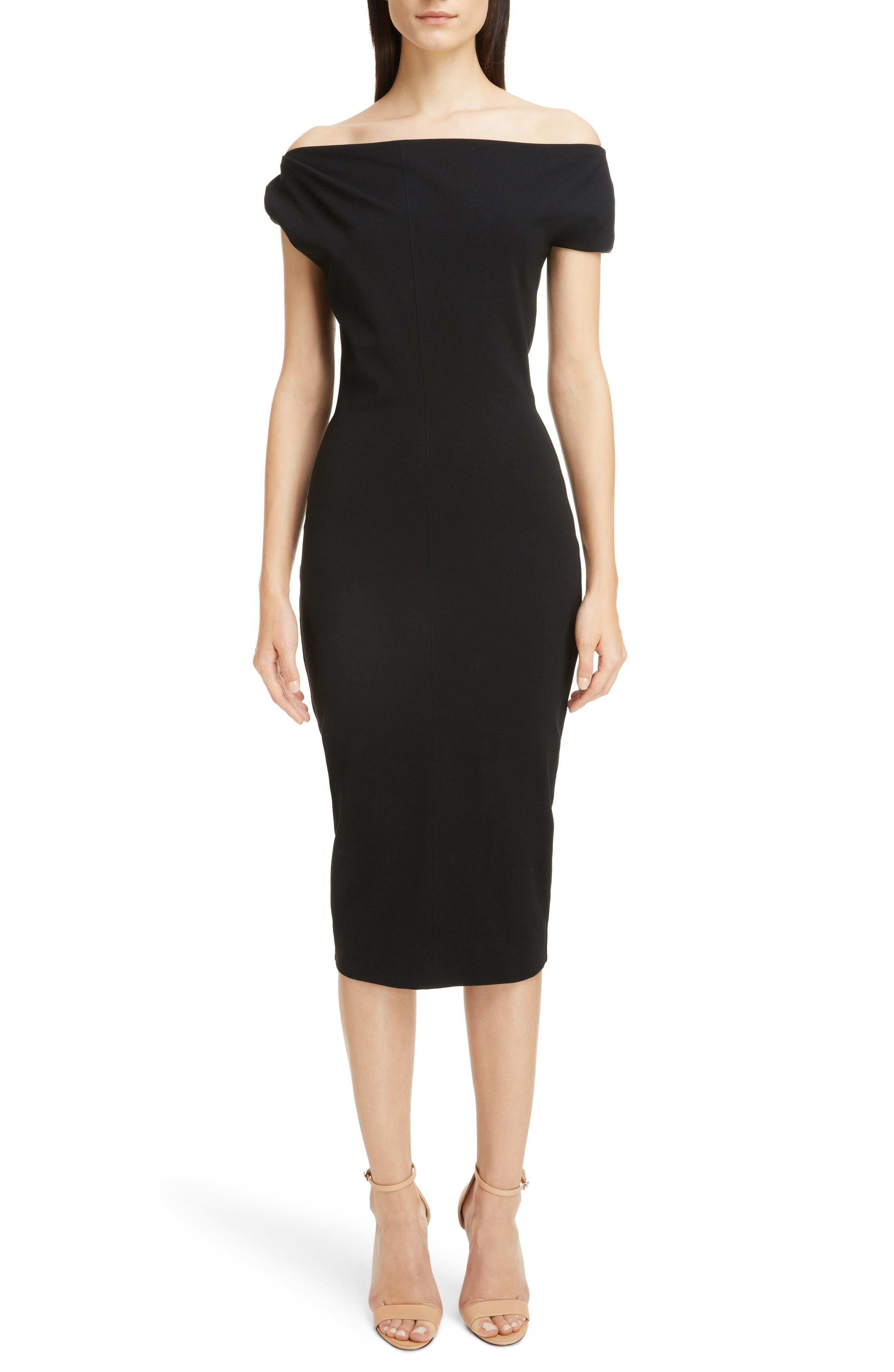 Matte Jersey Off the Shoulder Dress,                             Main thumbnail 1, color,                             Black