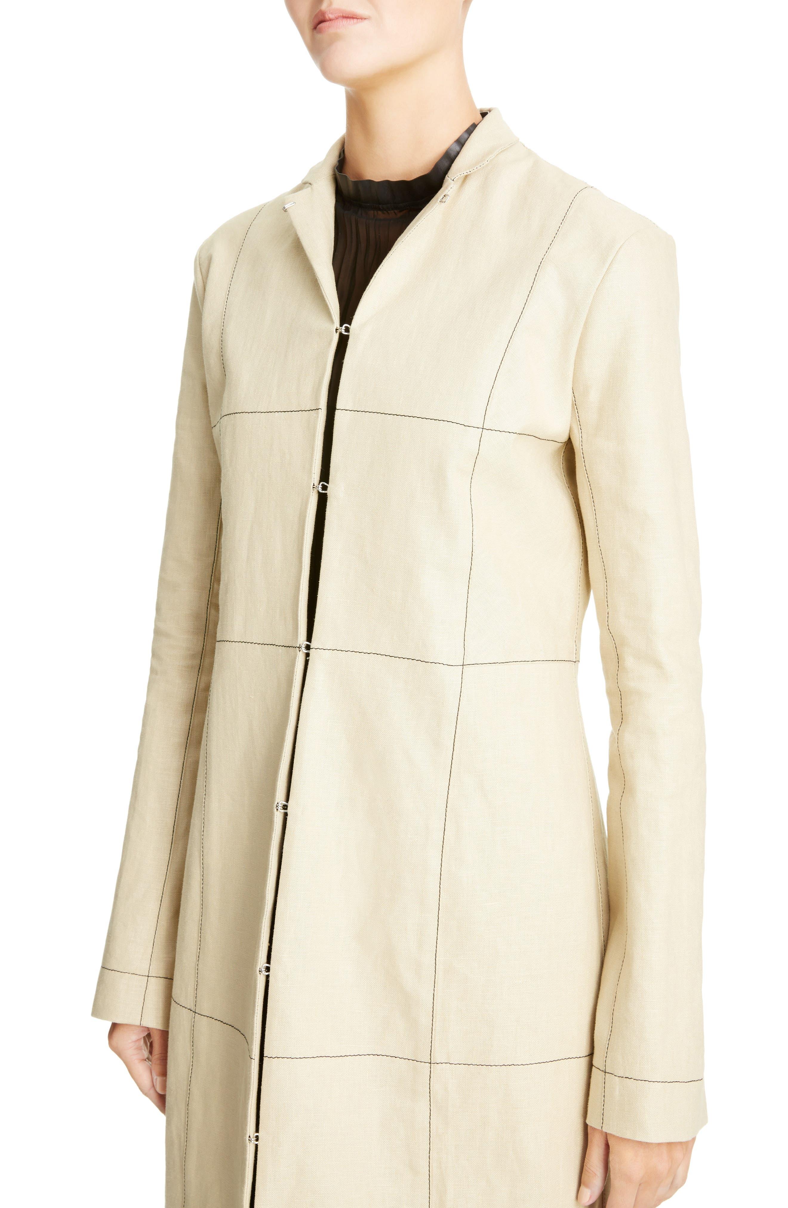 Topstitched Linen Coat,                             Alternate thumbnail 4, color,                             Beige