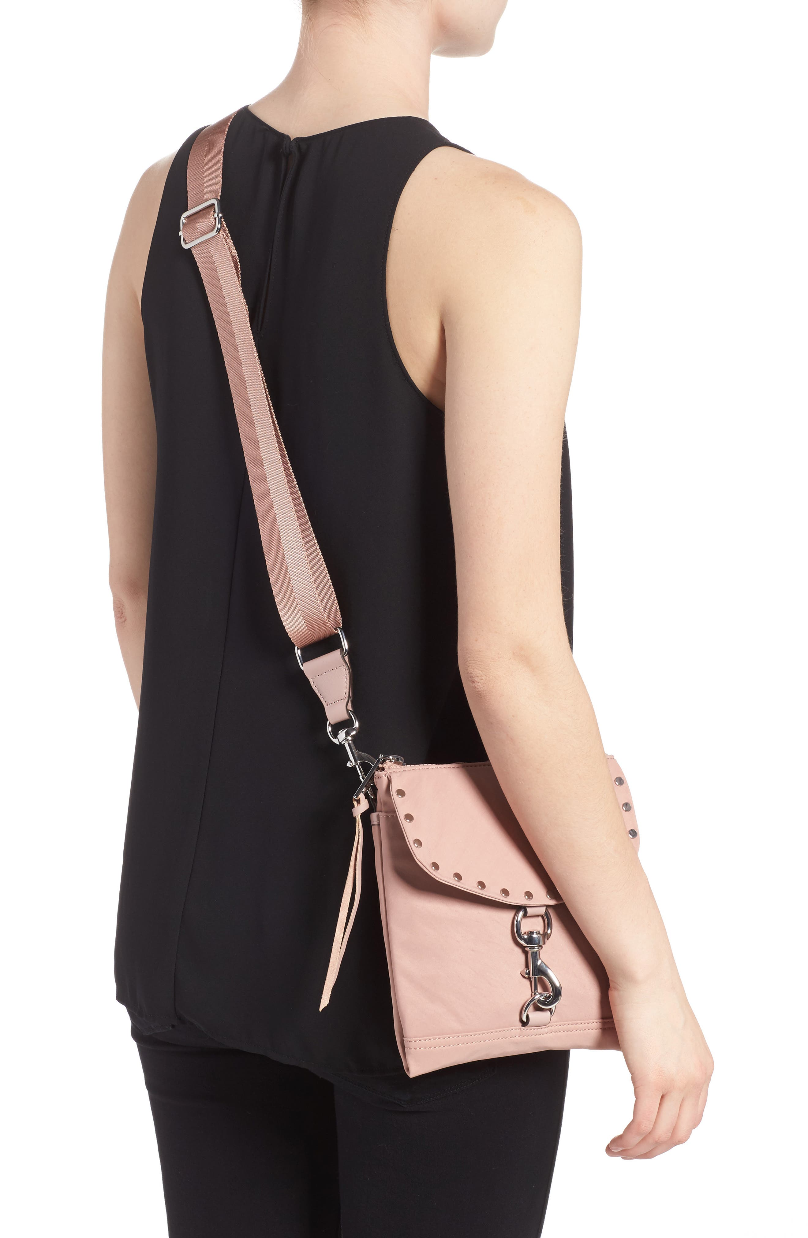 Nylon Flap Crossbody Bag,                             Alternate thumbnail 2, color,                             Vintage Pink