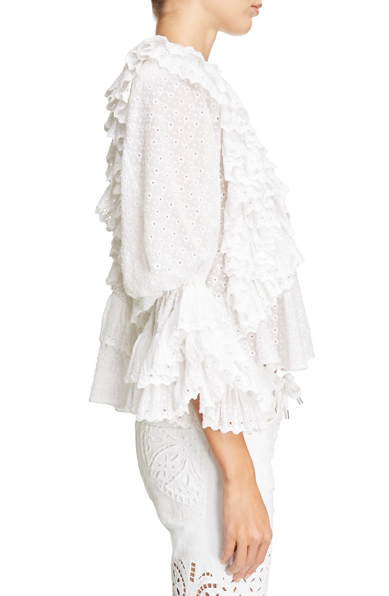 Ruffle Detail Broderie Anglaise Top,                             Alternate thumbnail 3, color,                             White