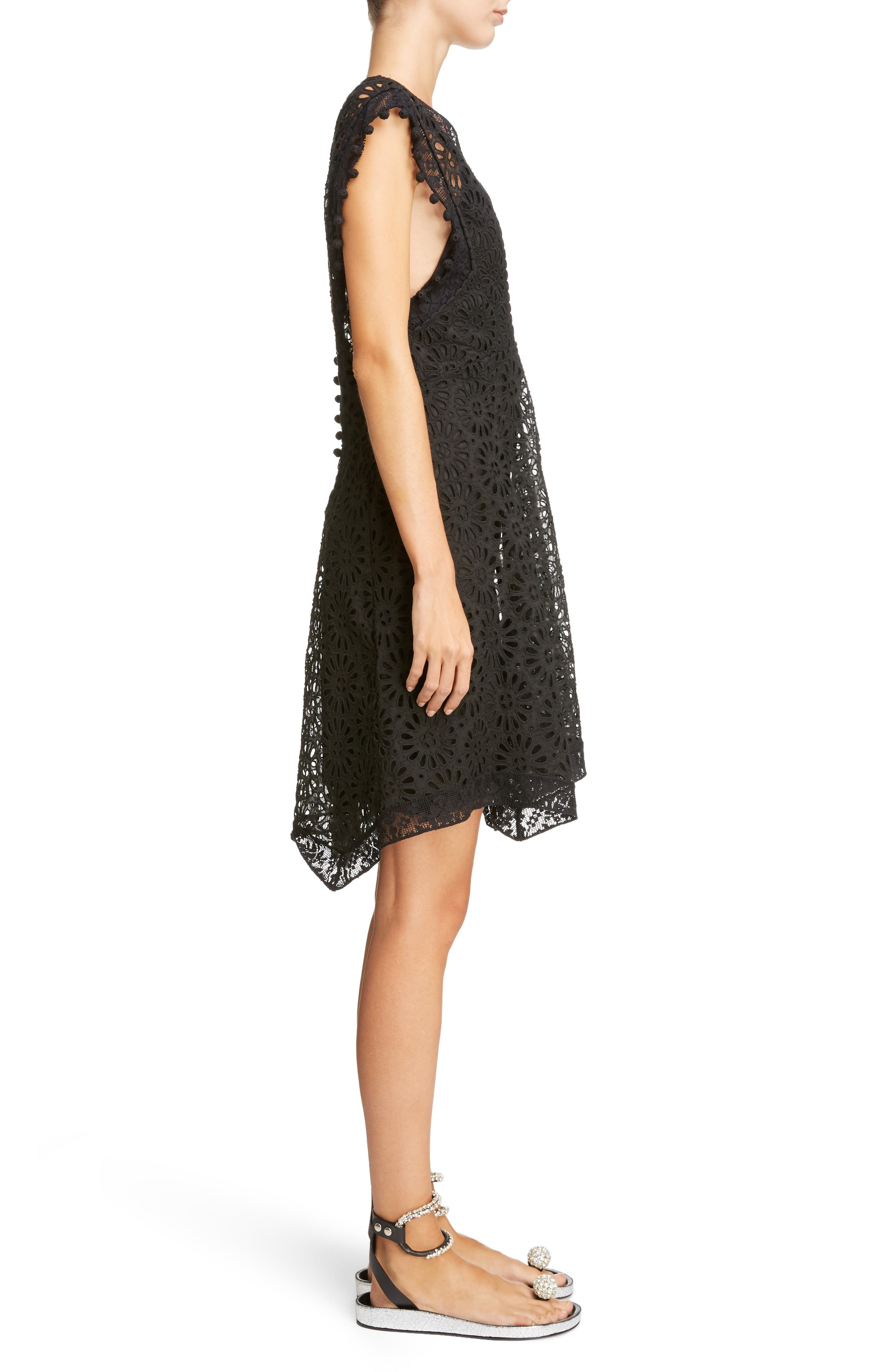 Pompom Trim Broderie Anglaise Dress,                             Alternate thumbnail 3, color,                             Black