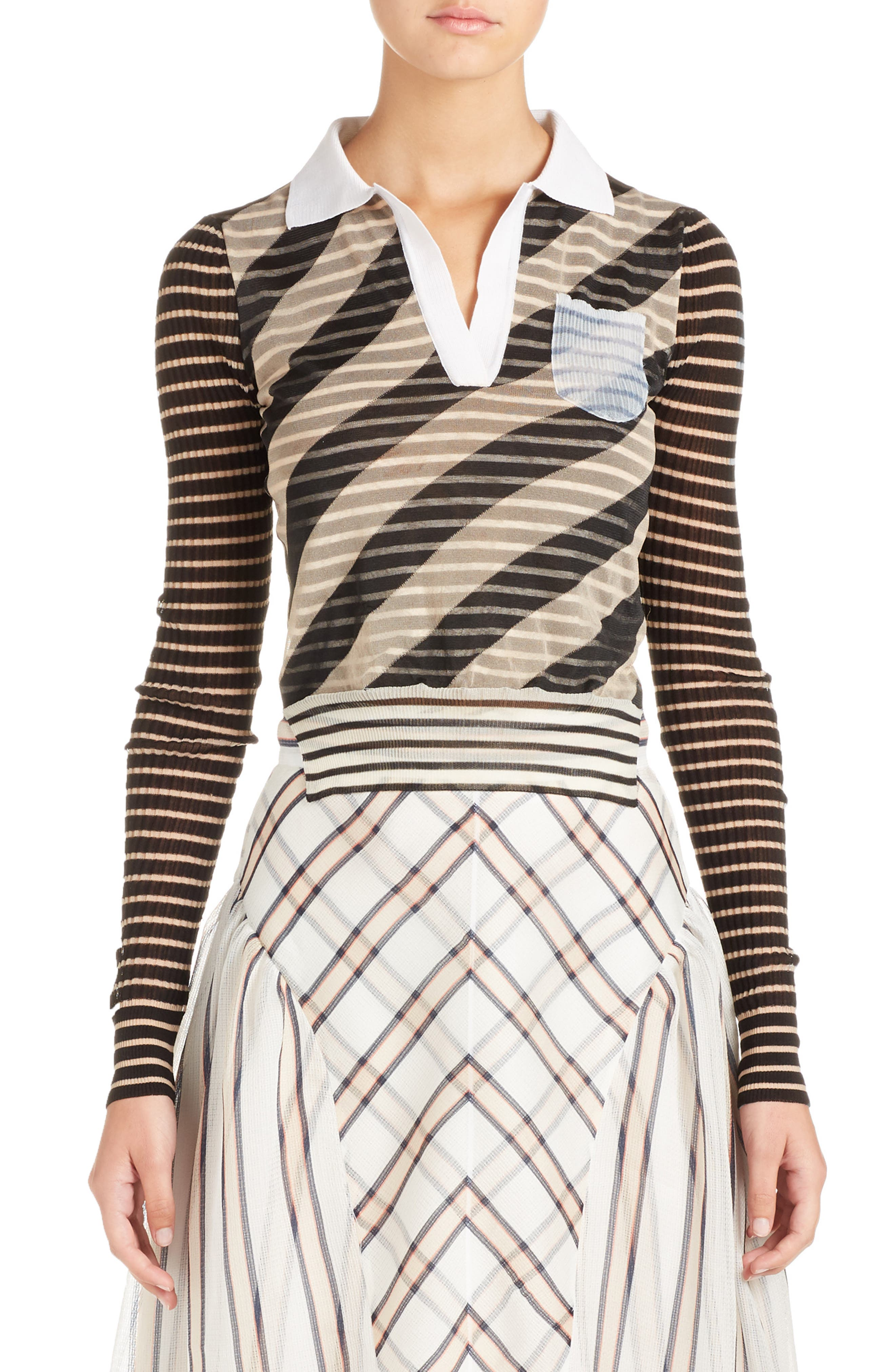 Mixed Stripe Top,                             Main thumbnail 1, color,                             Nude/ Black