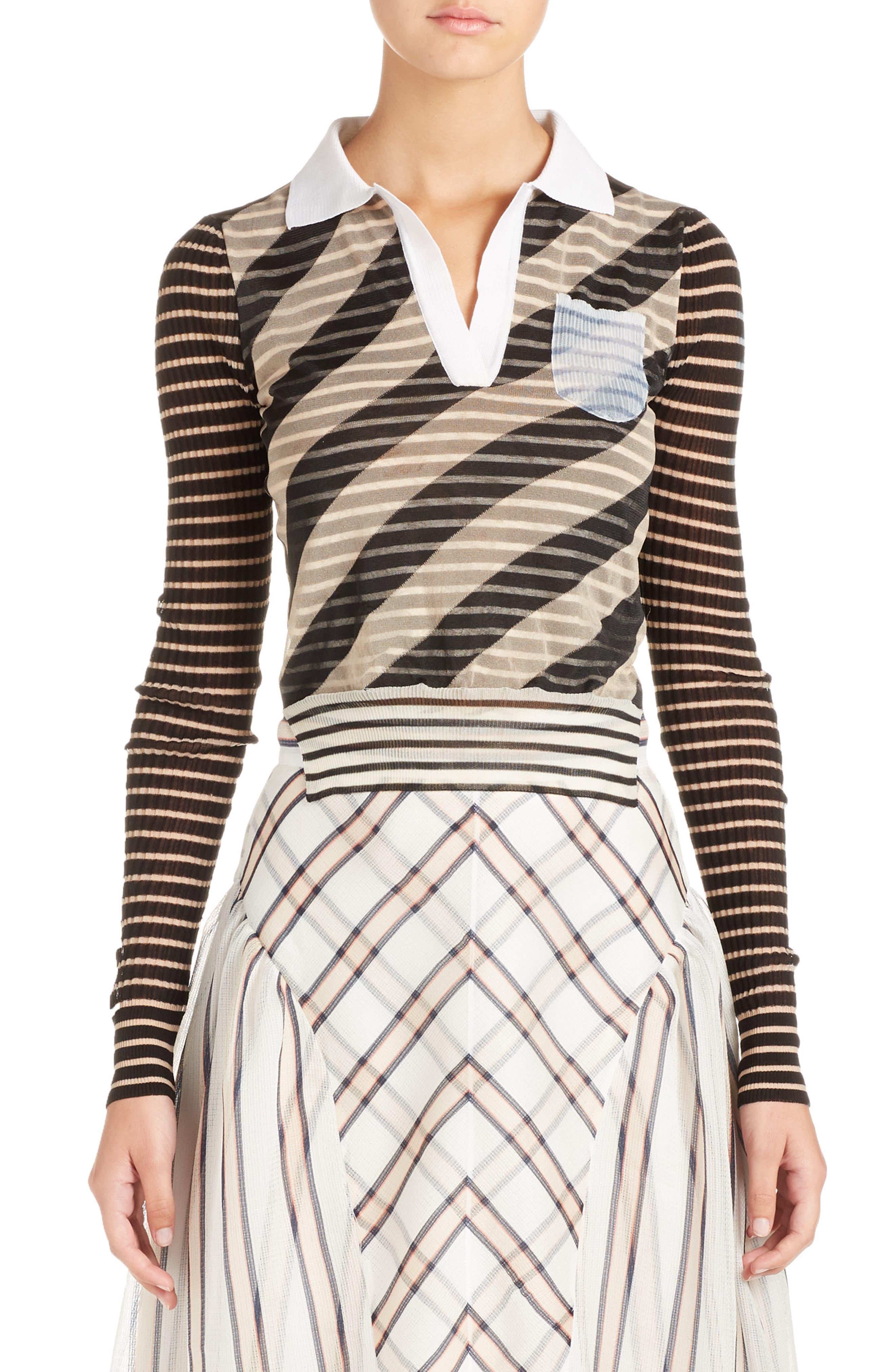 Mixed Stripe Top,                         Main,                         color, Nude/ Black