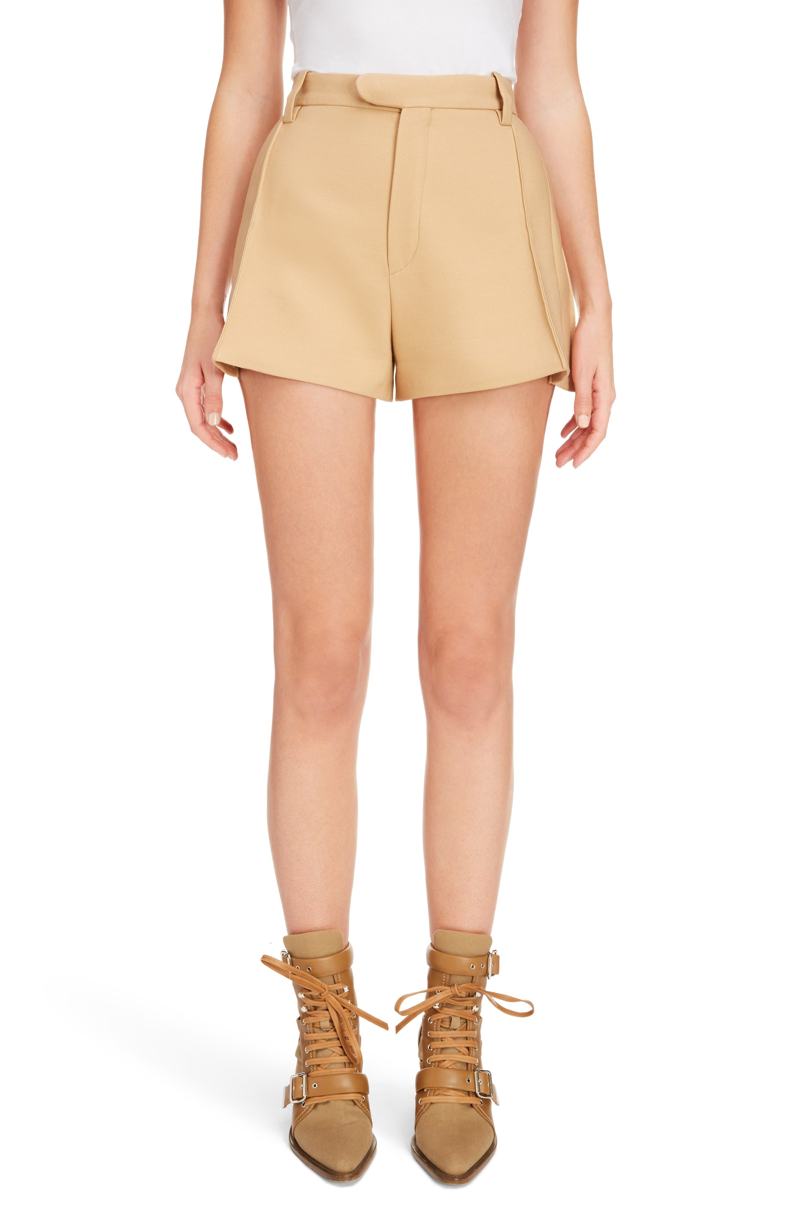 Side Pleat Wool & Silk Blend Shorts,                             Main thumbnail 1, color,                             Quiet Brown