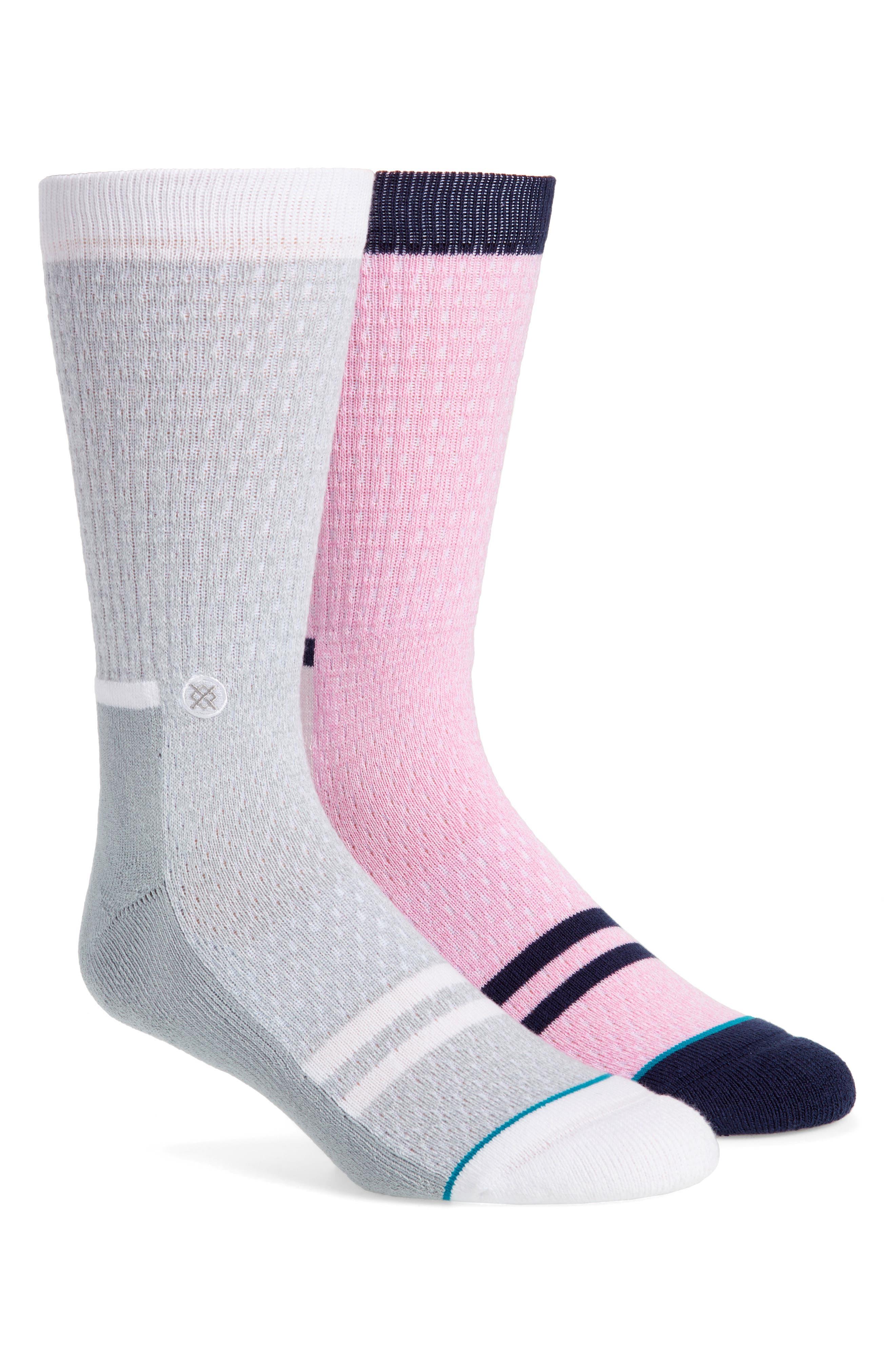 Lance Stripe Crew Socks,                         Main,                         color, Pink