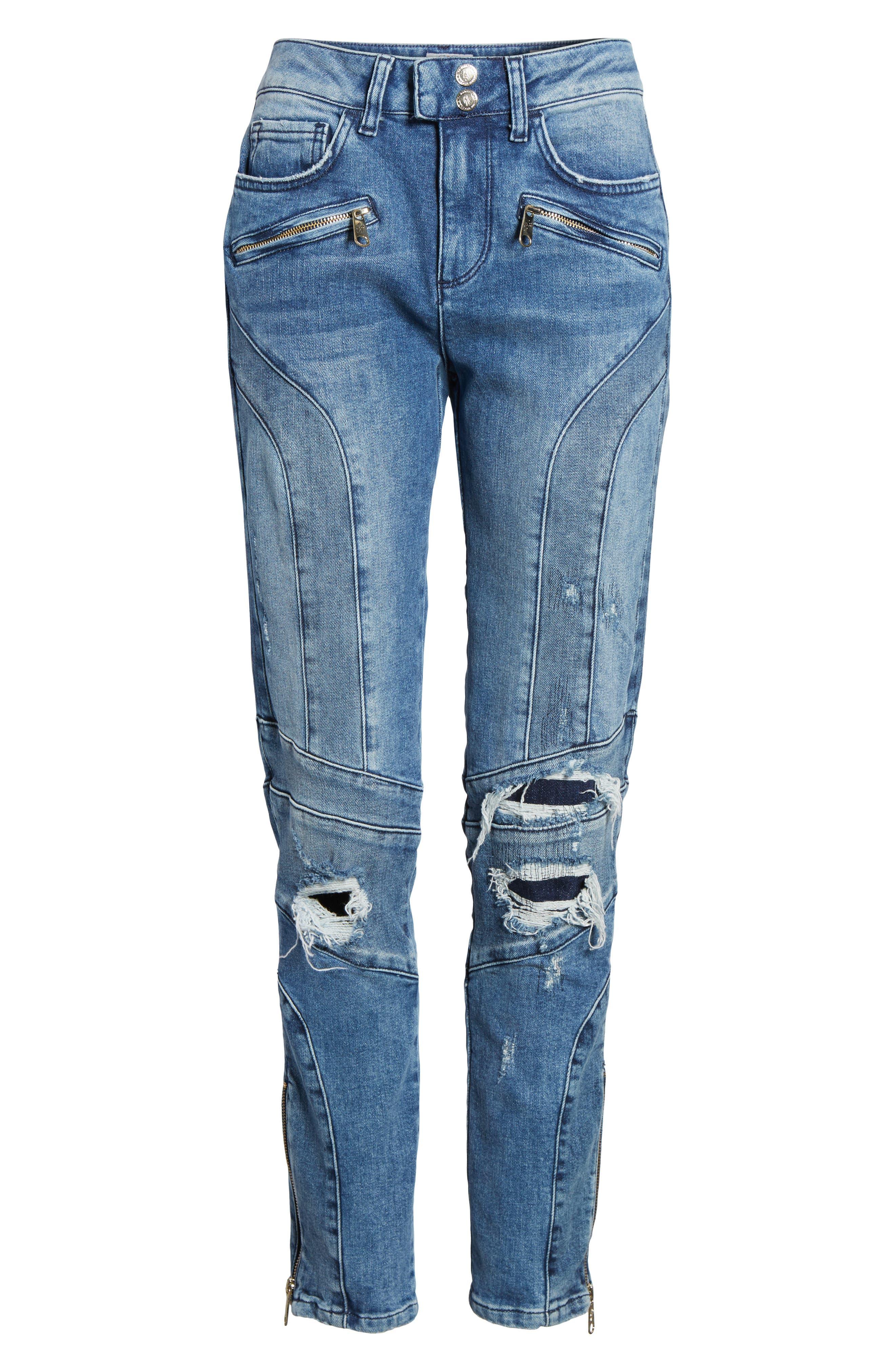 x Gigi Hadid Speed Distressed Ankle Zip Jeans,                             Alternate thumbnail 7, color,                             Mid Blue