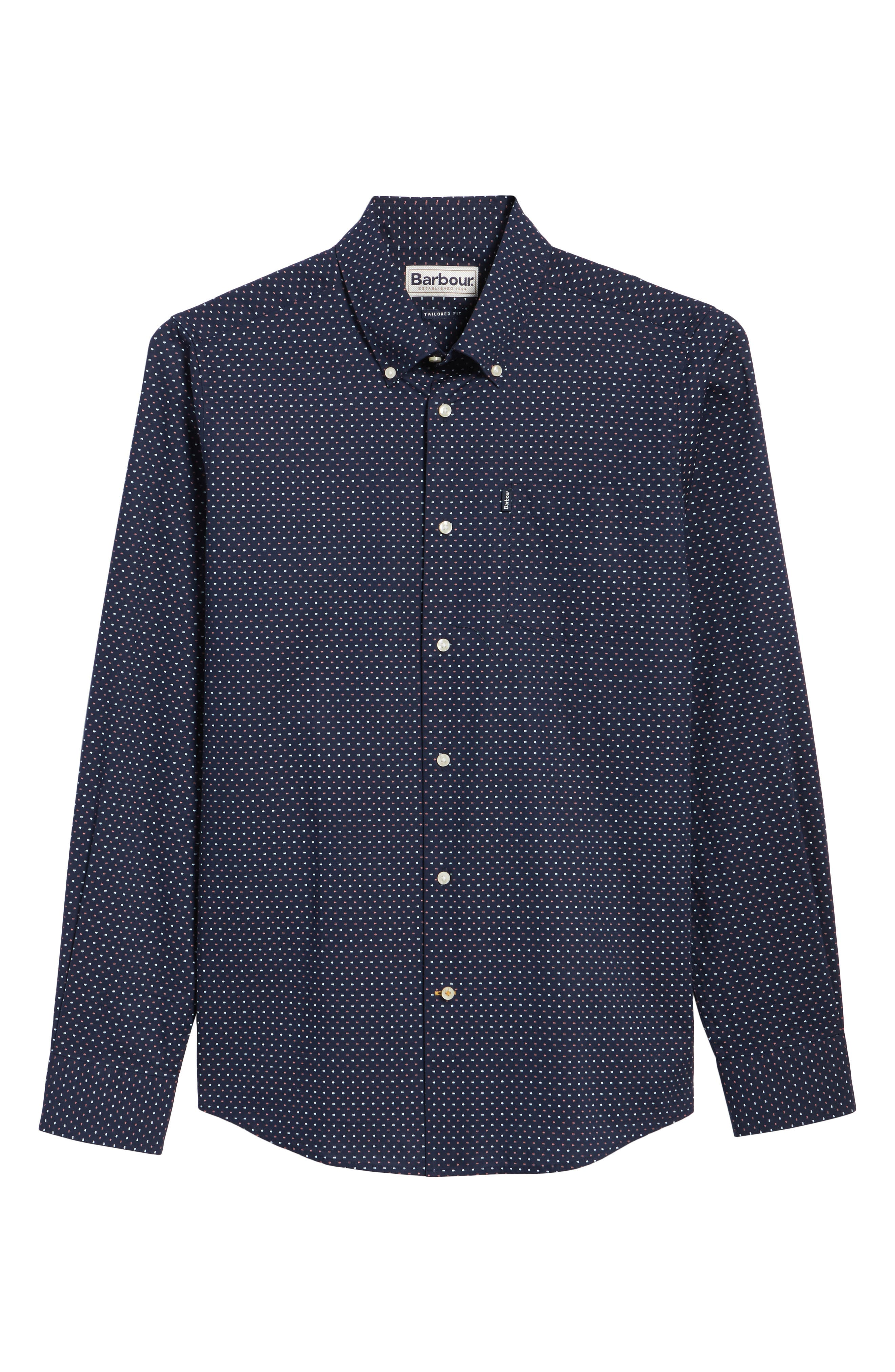 Cullen Trim Fit Print Sport Shirt,                             Alternate thumbnail 6, color,                             Navy