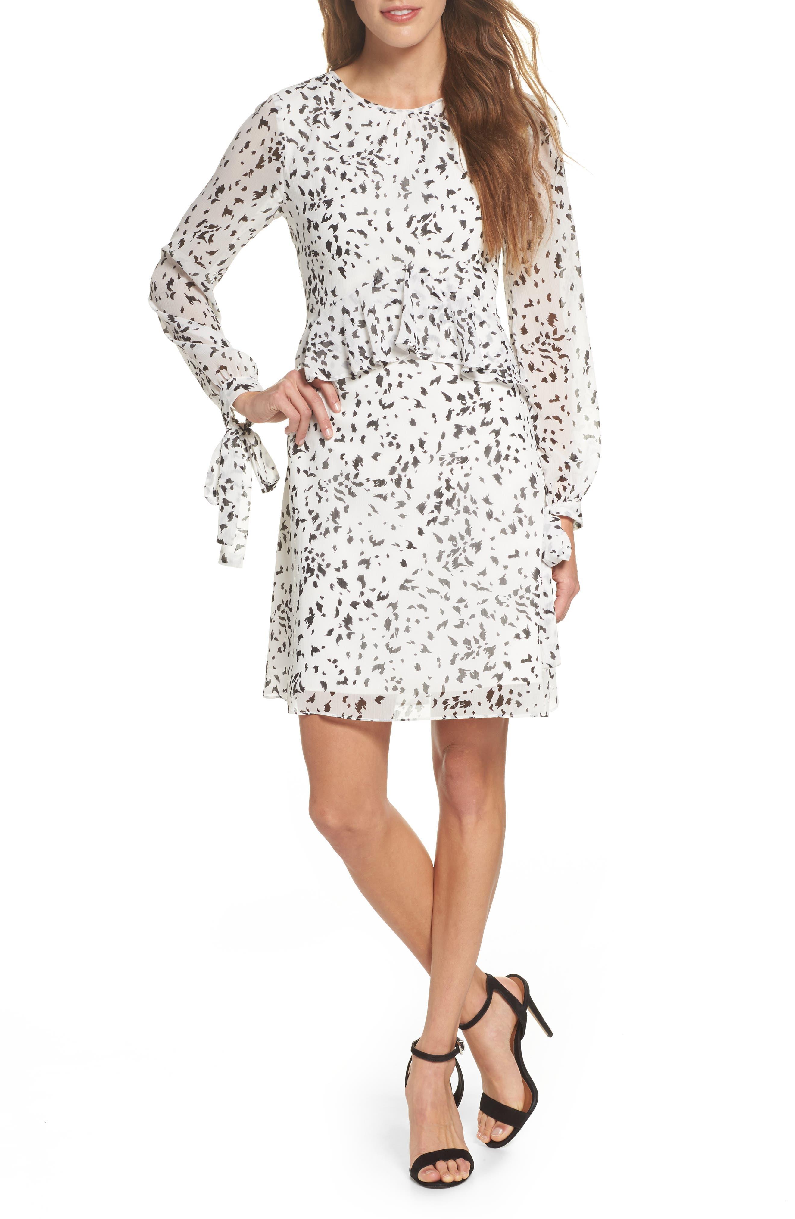 Print Ruffle Dress,                             Main thumbnail 1, color,                             White/ Black