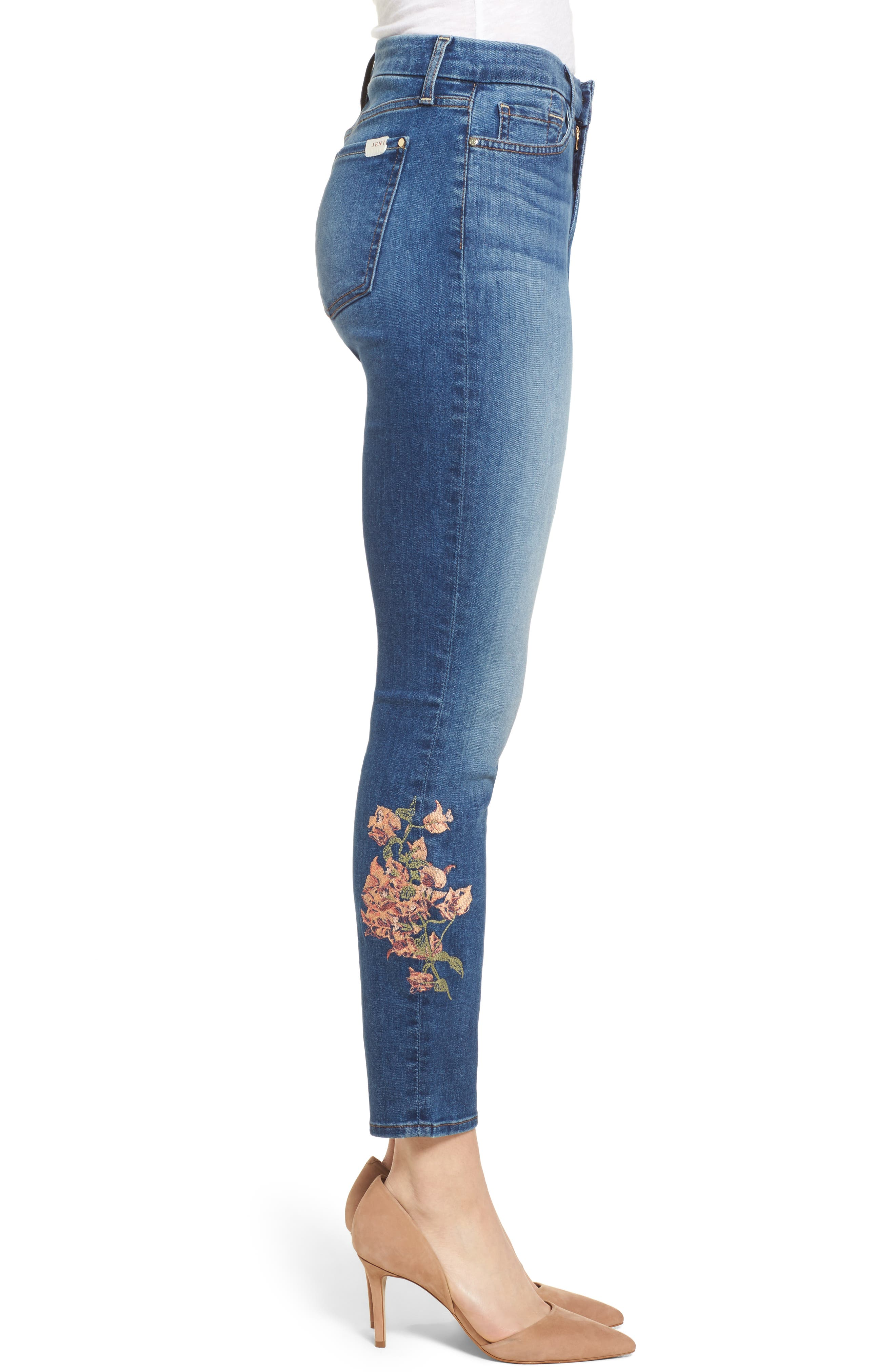 Embroidered Ankle Skinny Jeans,                             Alternate thumbnail 4, color,                             Garden City