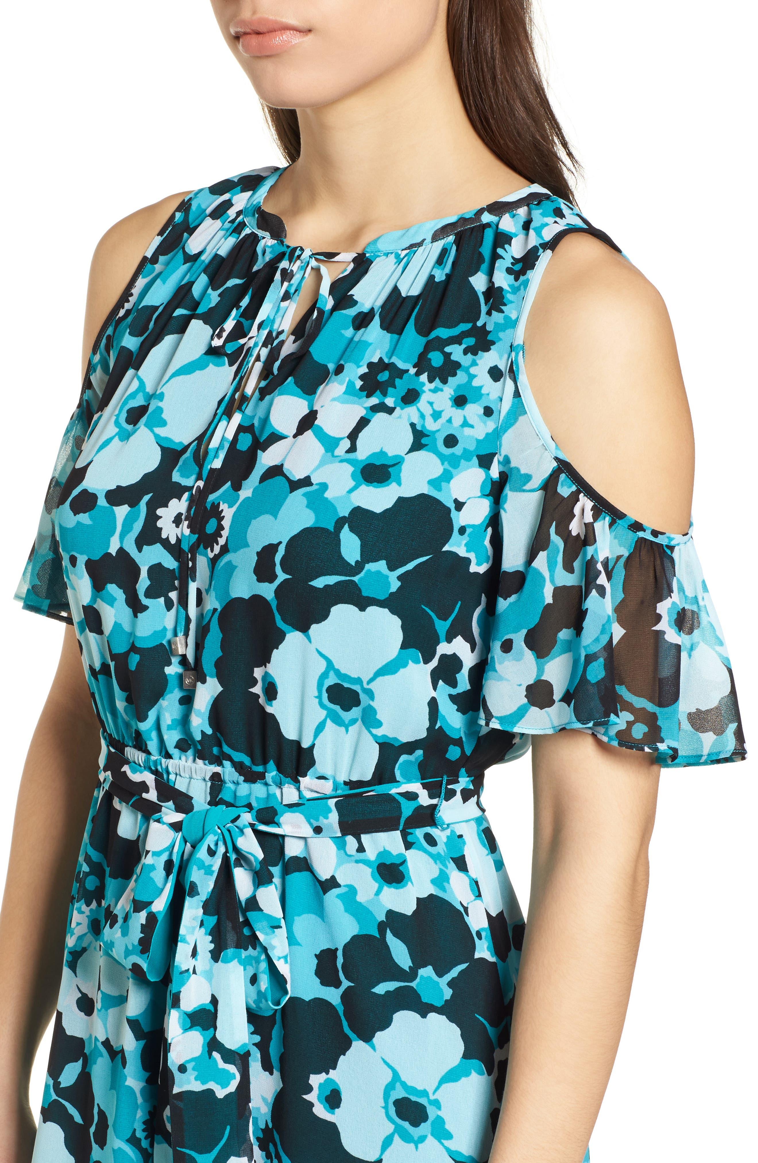 Spring Floral Maxi Dress,                             Alternate thumbnail 4, color,                             Tile Blue/ Black Multi