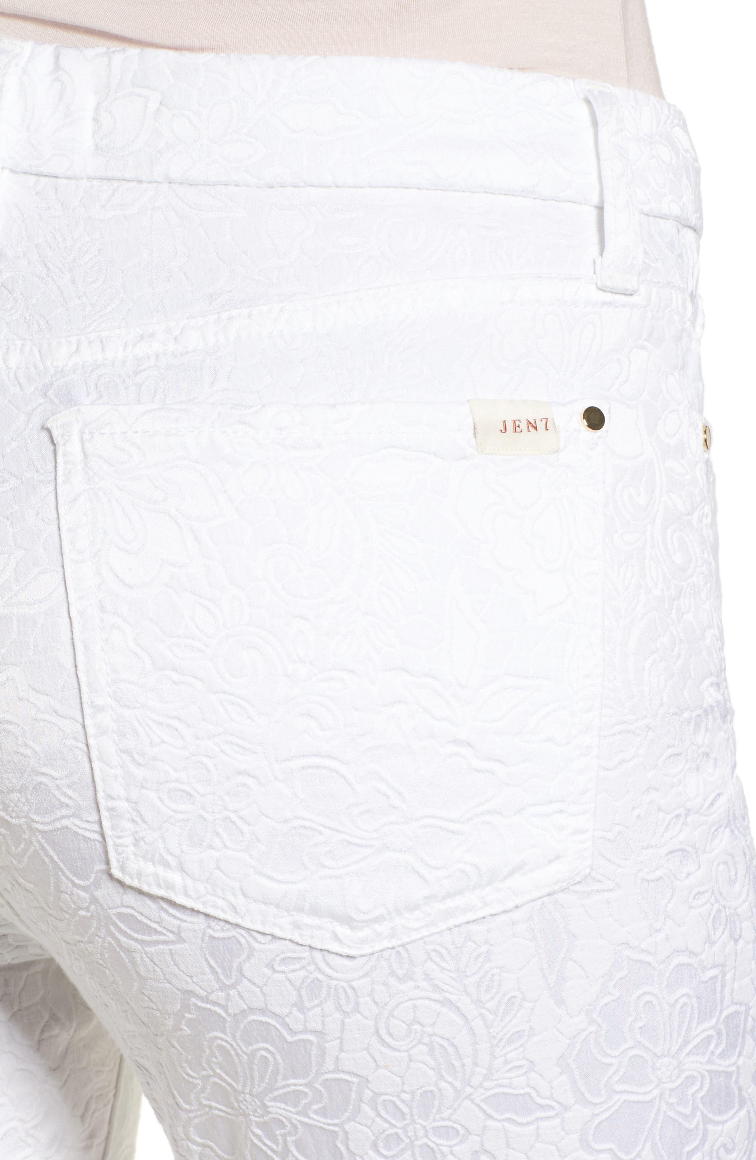 Jacquard Ankle Skinny Jeans,                             Alternate thumbnail 4, color,                             White