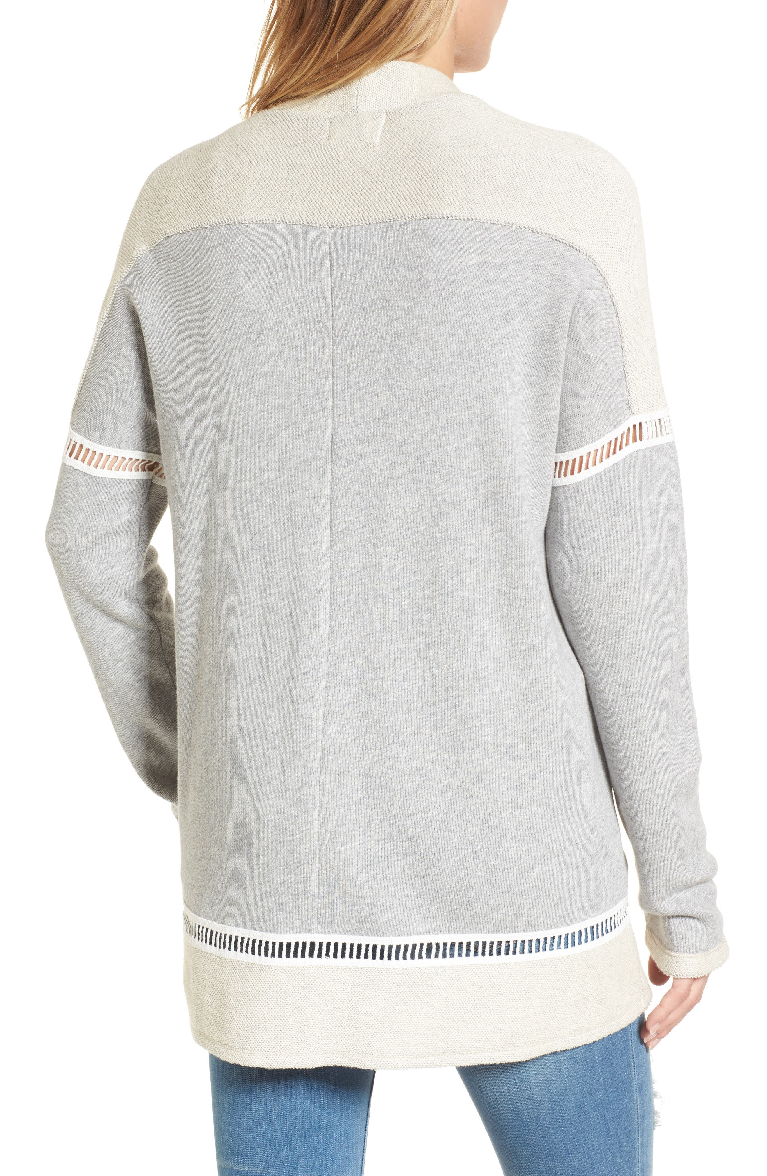 French Terry Open Front Cotton Cardigan,                             Alternate thumbnail 2, color,                             Grey Heather