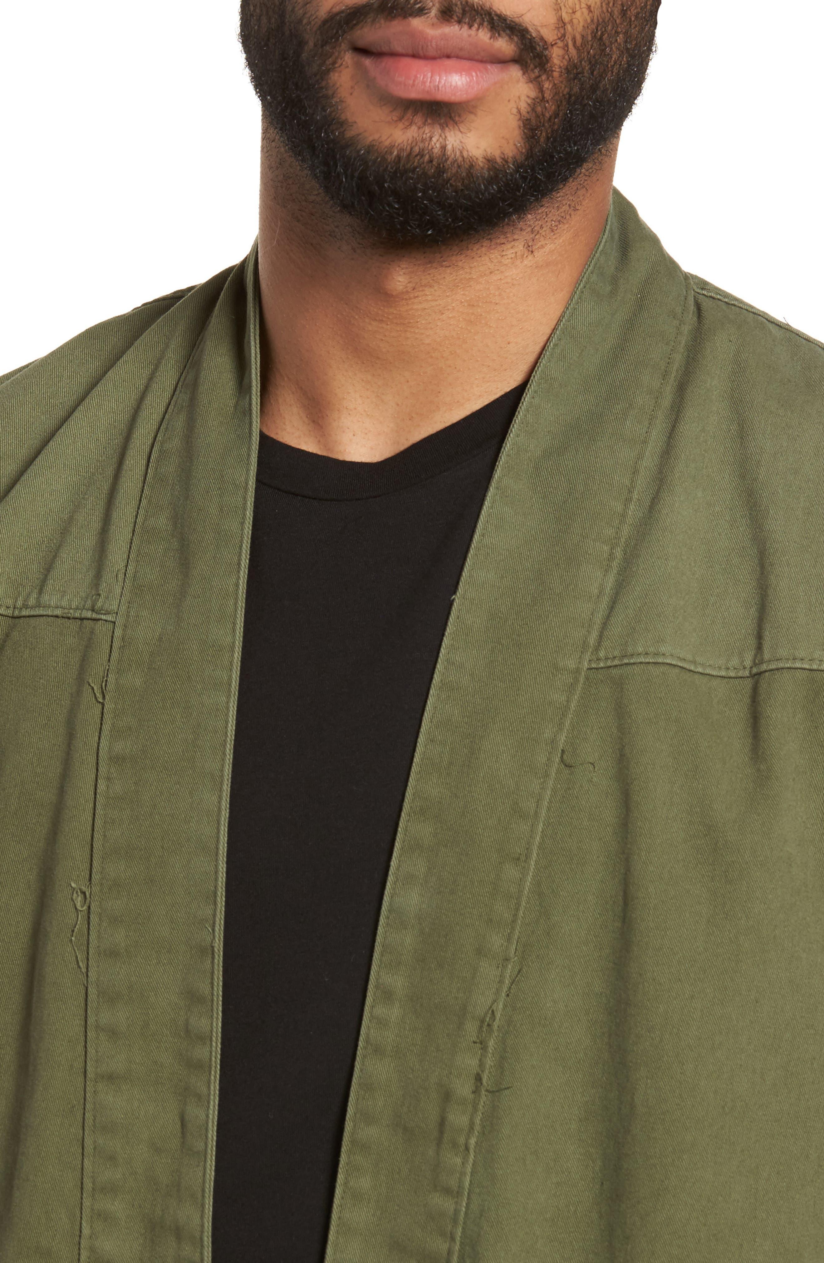 Woven Kimono Cardigan,                             Alternate thumbnail 4, color,                             Green Moss