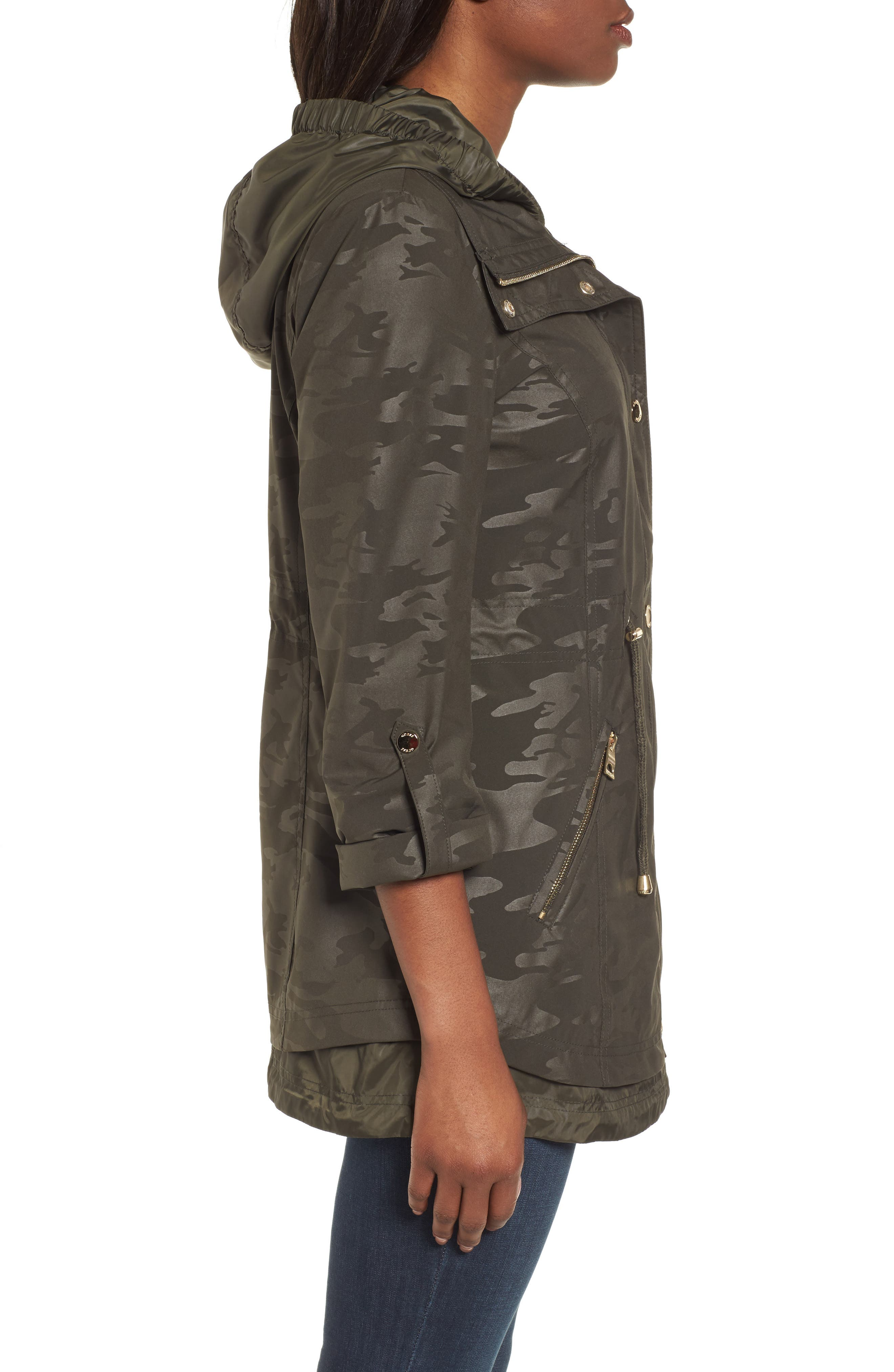 Hooded Anorak,                             Alternate thumbnail 3, color,                             Olive Camouflage
