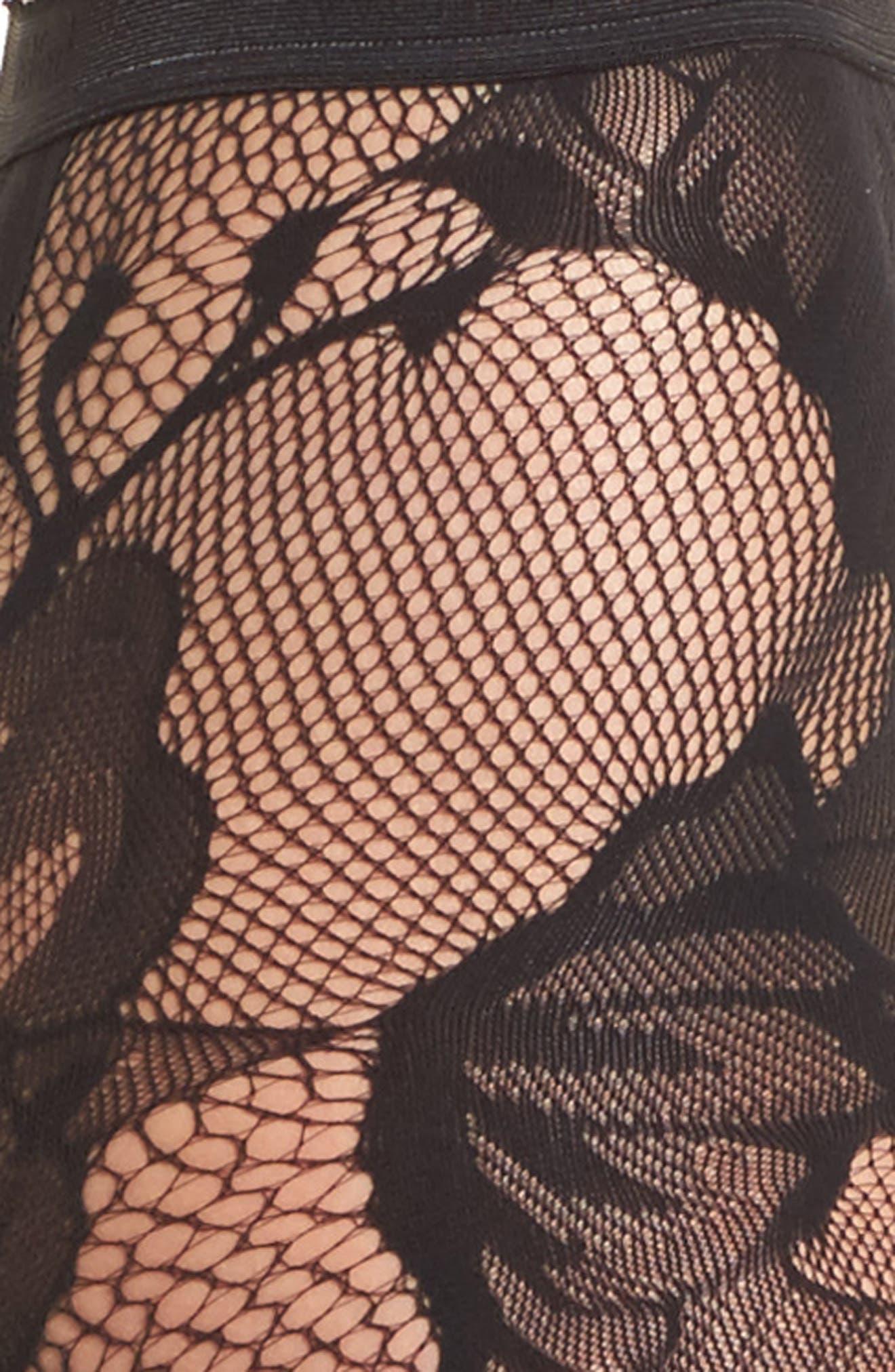Pat Floral Lace Tights,                             Alternate thumbnail 2, color,                             Black