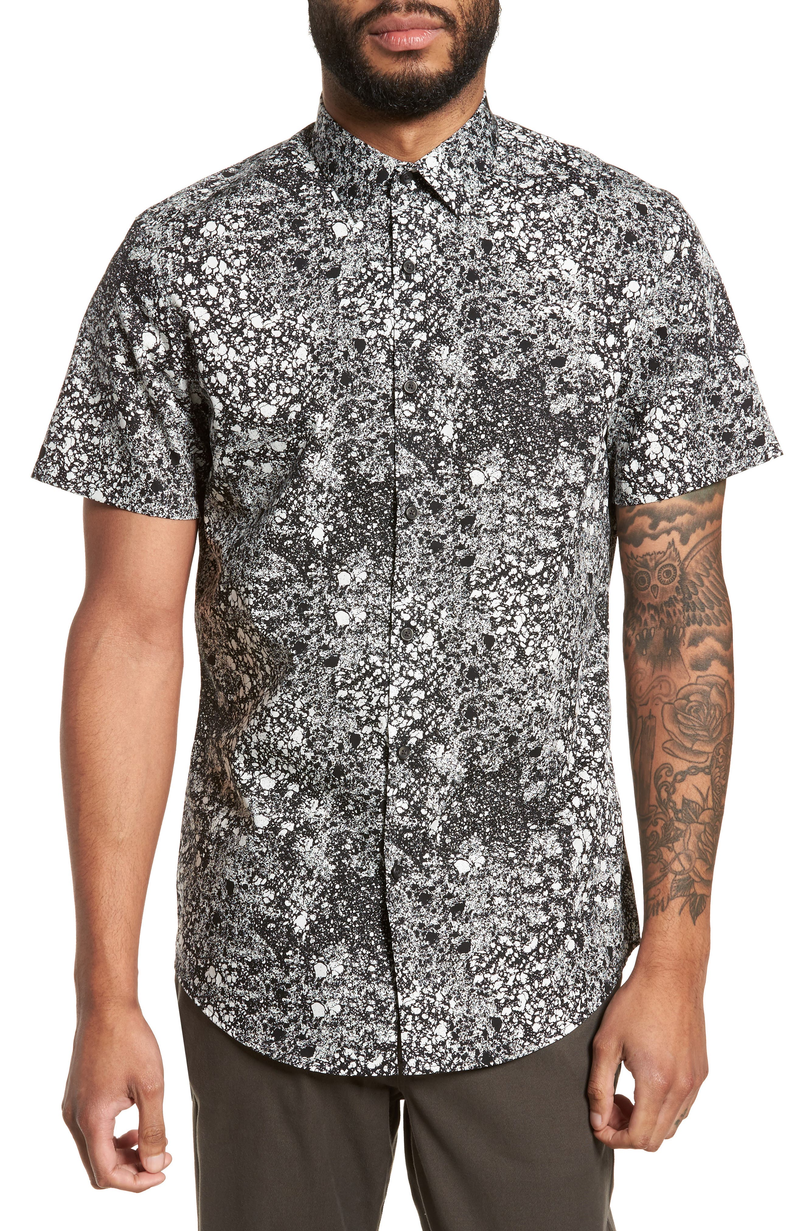 Print Sport Shirt,                         Main,                         color, Black White Mineral Texture