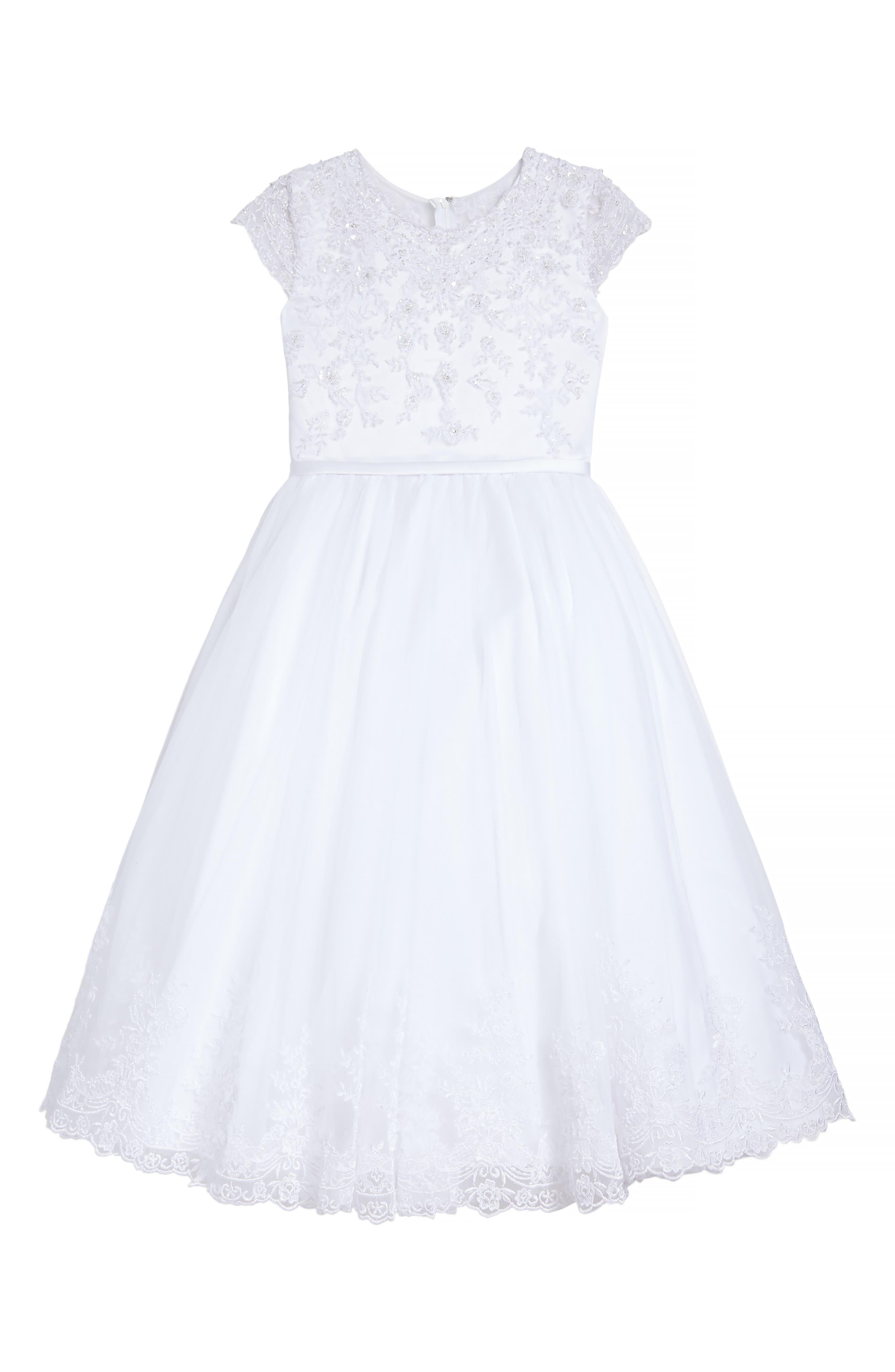 Alternate Image 1 Selected - Joan Calabrese for Mon Cheri Beaded Satin & Tulle First Communion Dress (Little Girls & Big Girls)