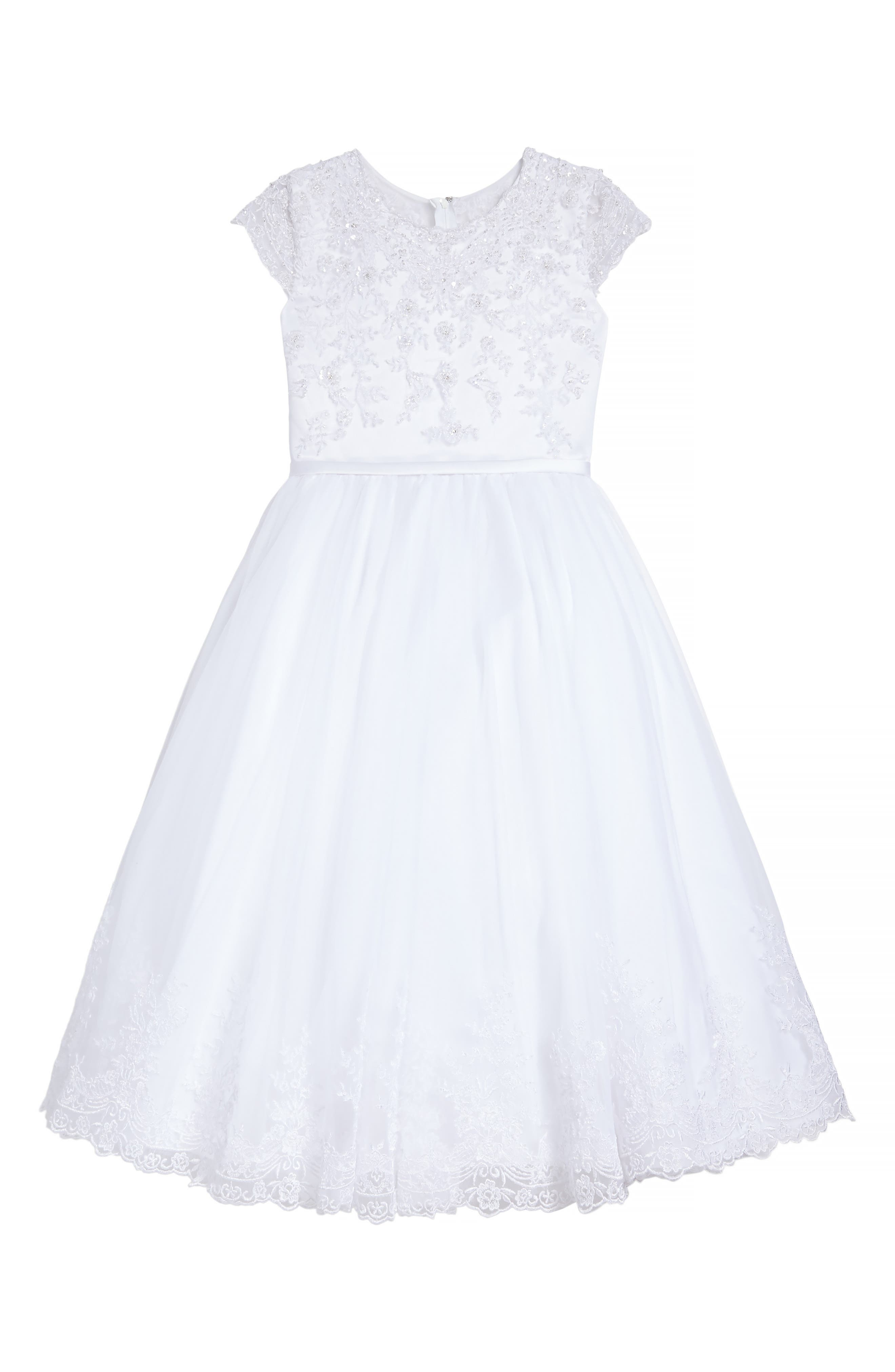 Beaded Satin & Tulle First Communion Dress,                         Main,                         color, White