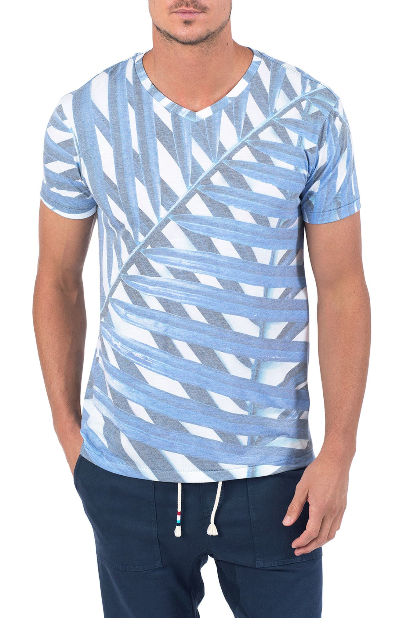 Azul Palm Print T-Shirt,                             Main thumbnail 1, color,                             Azul