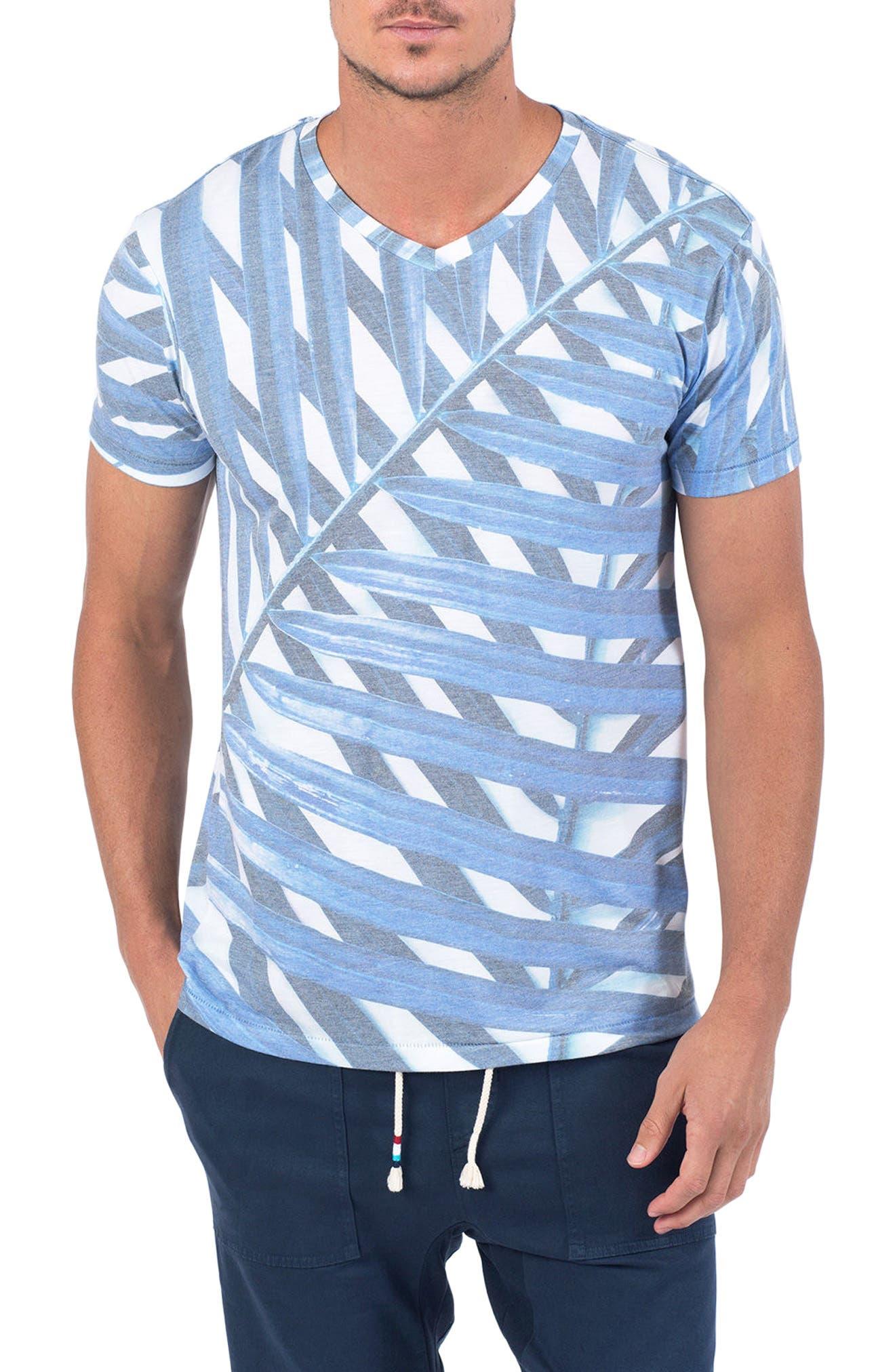 Azul Palm Print T-Shirt,                         Main,                         color, Azul