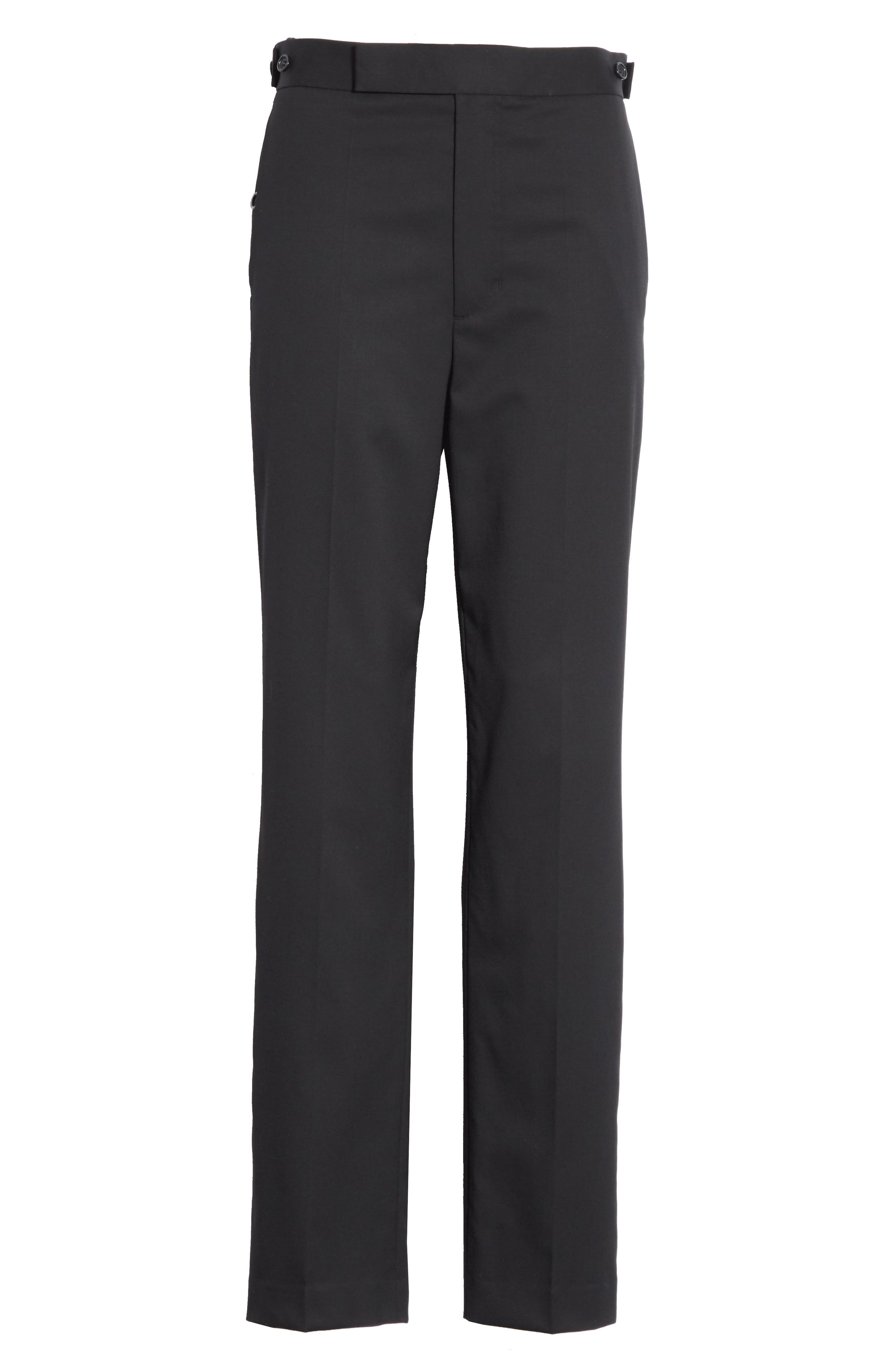 Straight Leg Wool Trousers,                             Alternate thumbnail 6, color,                             Black