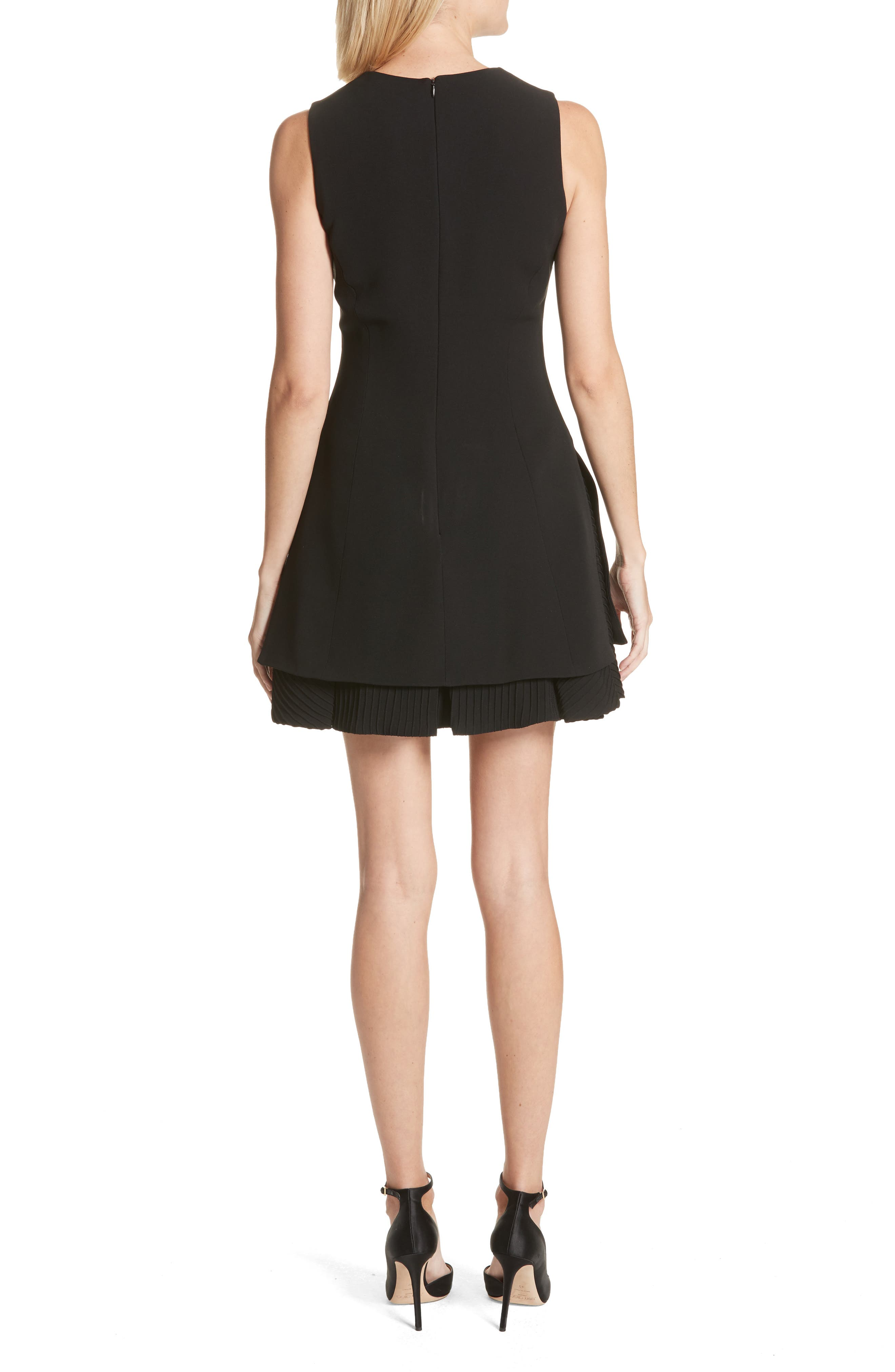 Alternate Image 2  - Brandon Maxwell Pleated Hem Fit & Flare Dress