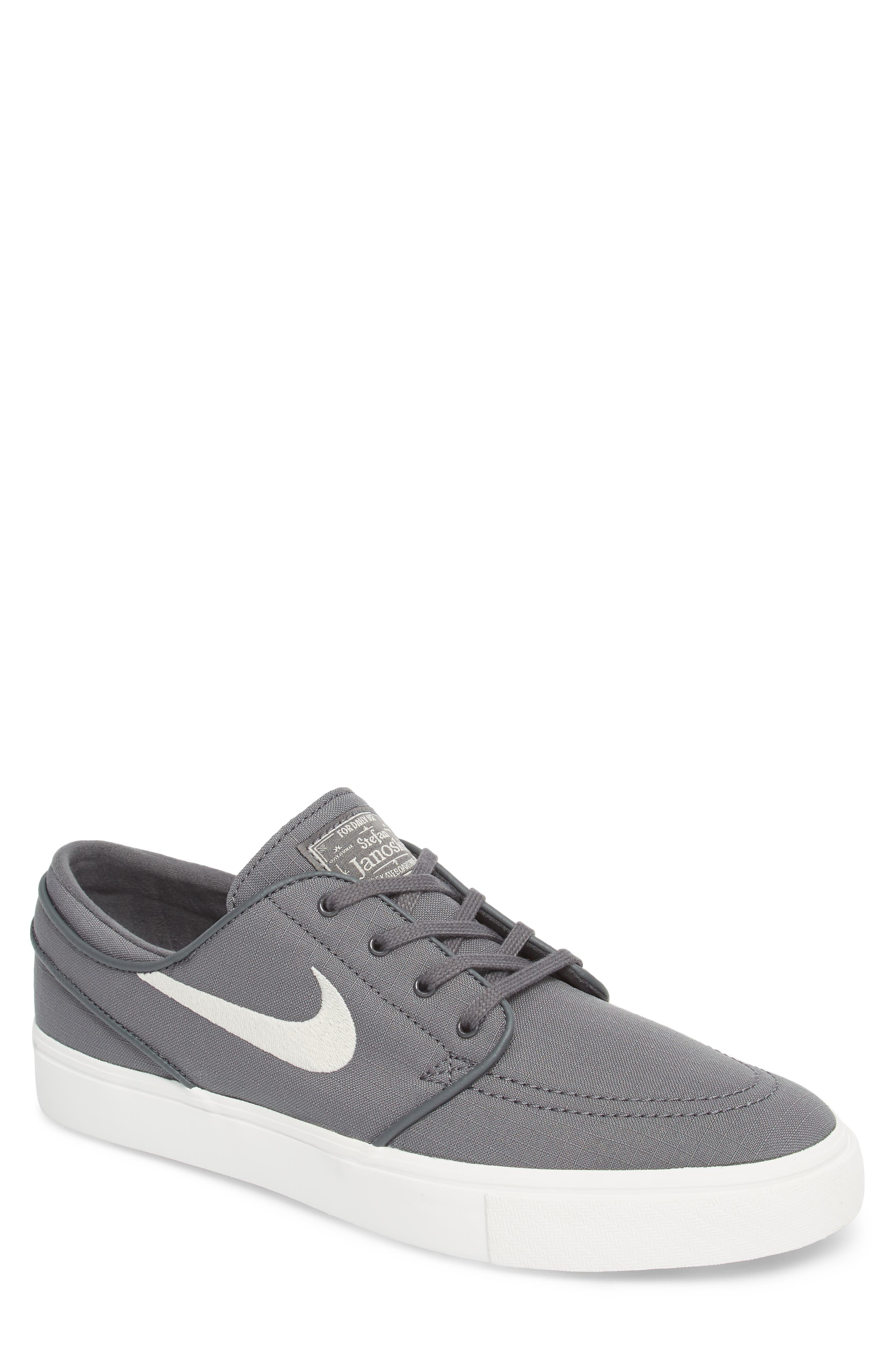 'Zoom - Stefan Janoski SB' Canvas Skate Shoe,                         Main,                         color, Dark Grey/ Bone/ White/ Black