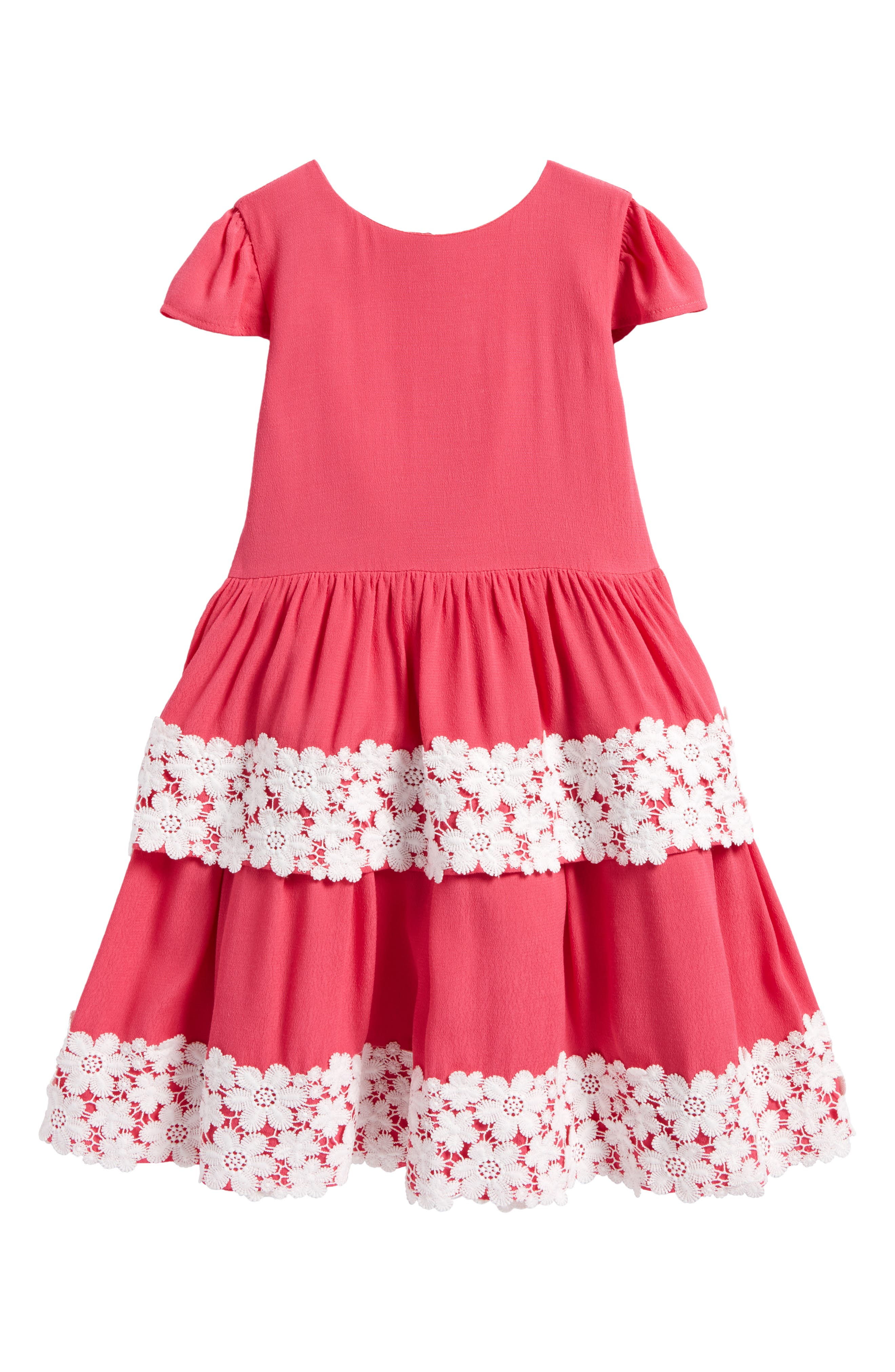 Tiered Skirt Dress,                             Main thumbnail 1, color,                             Calypso Coral