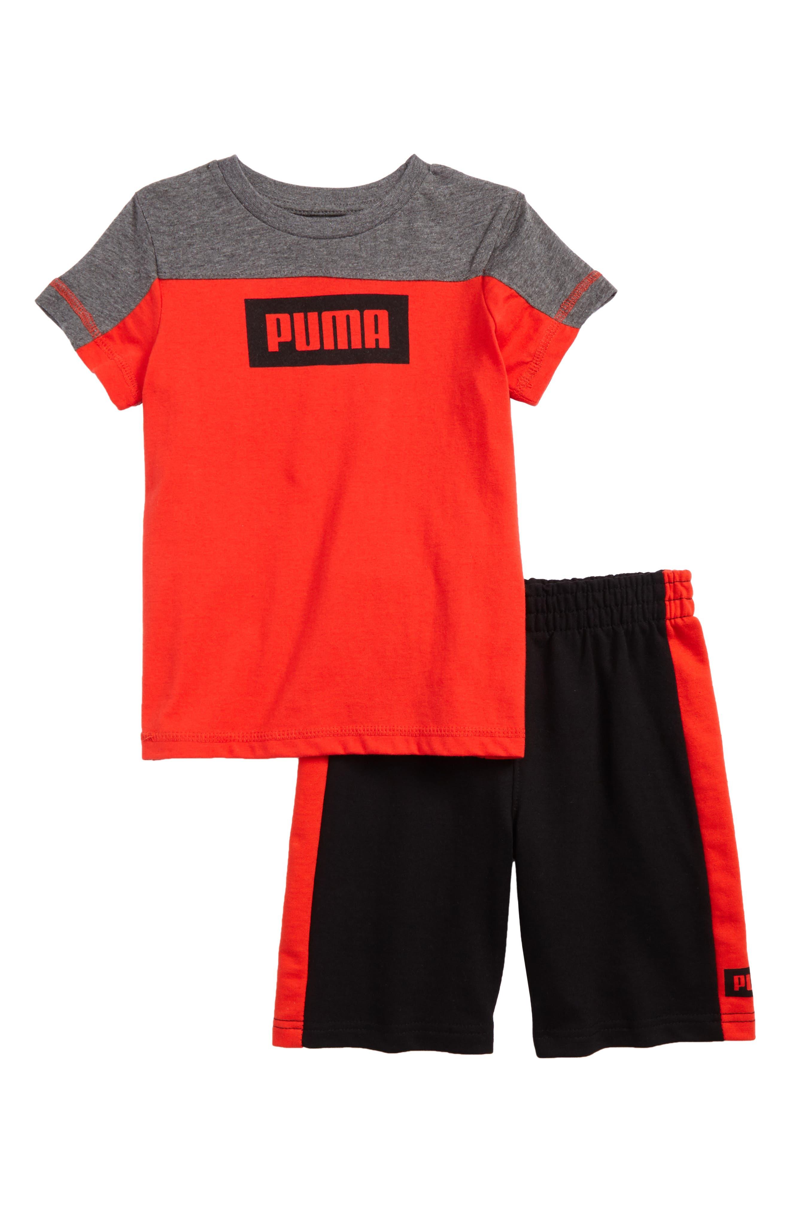 Rebel Logo T-Shirt & Shorts Set,                             Main thumbnail 1, color,                             Flame Scarlet