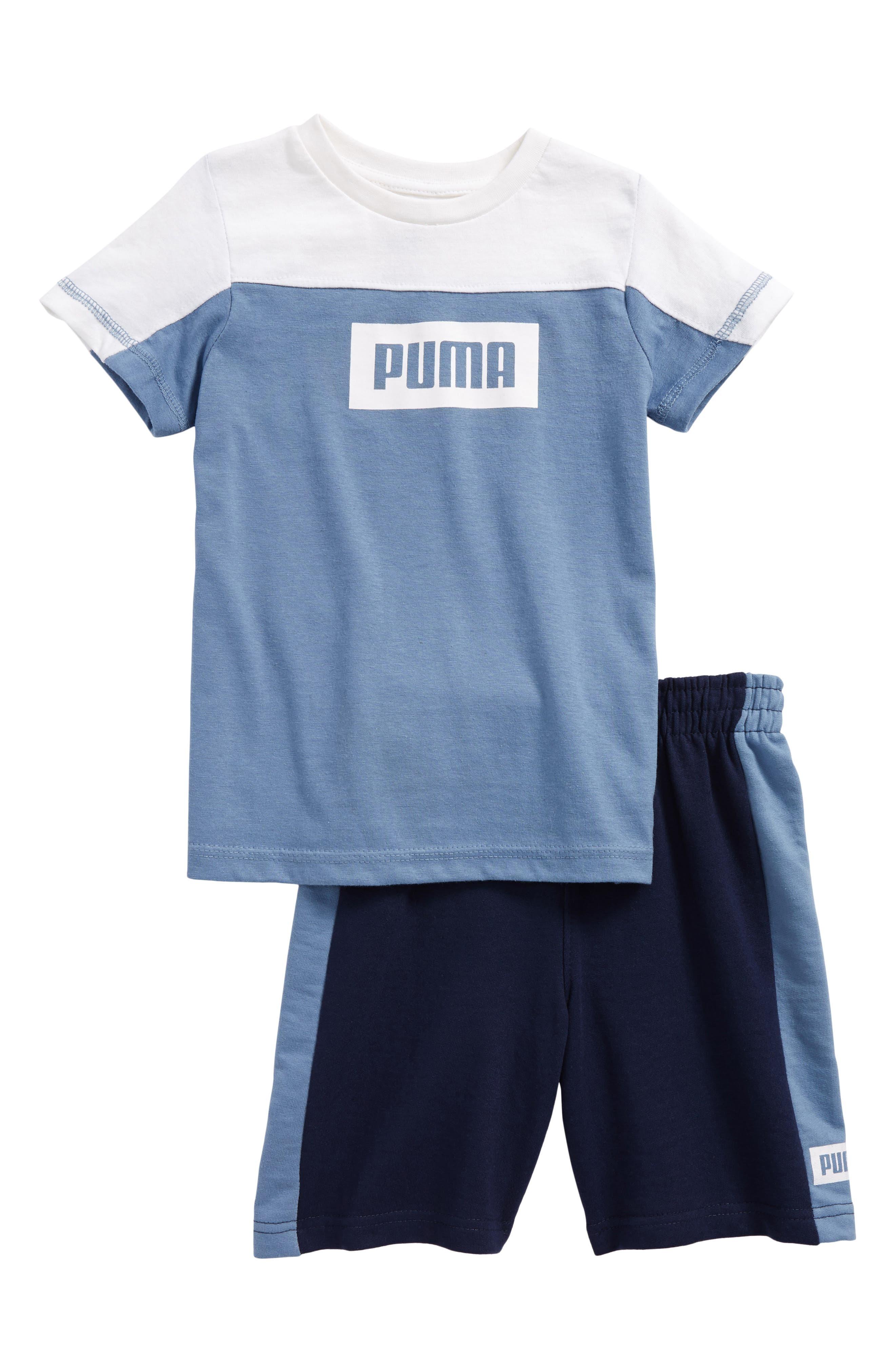 Main Image - PUMA Rebel Logo T-Shirt & Shorts Set (Toddler Boys & Little Boys)