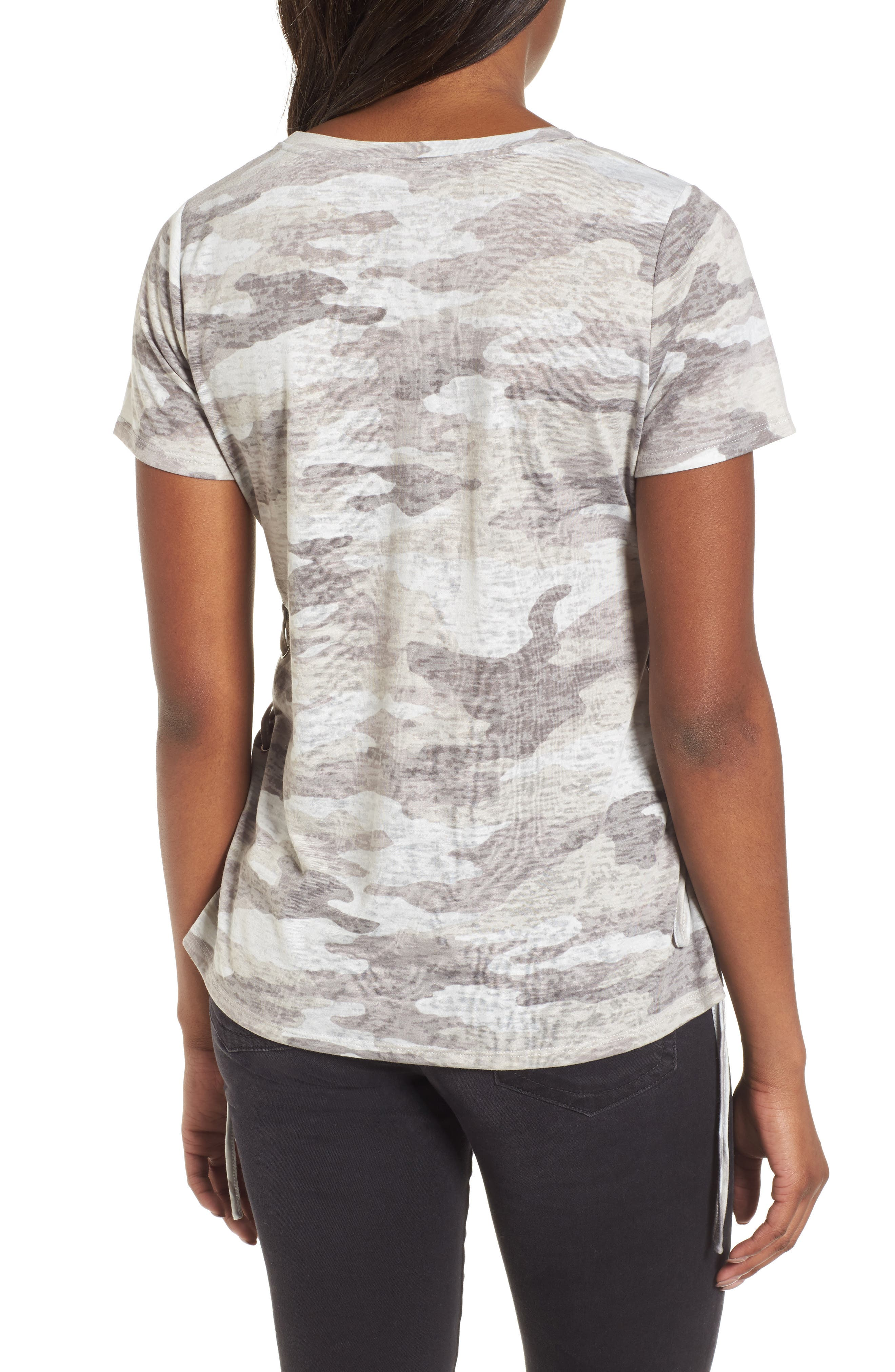 Avenue Side Lace-Up Camo Tee,                             Alternate thumbnail 2, color,                             Midnight Fog