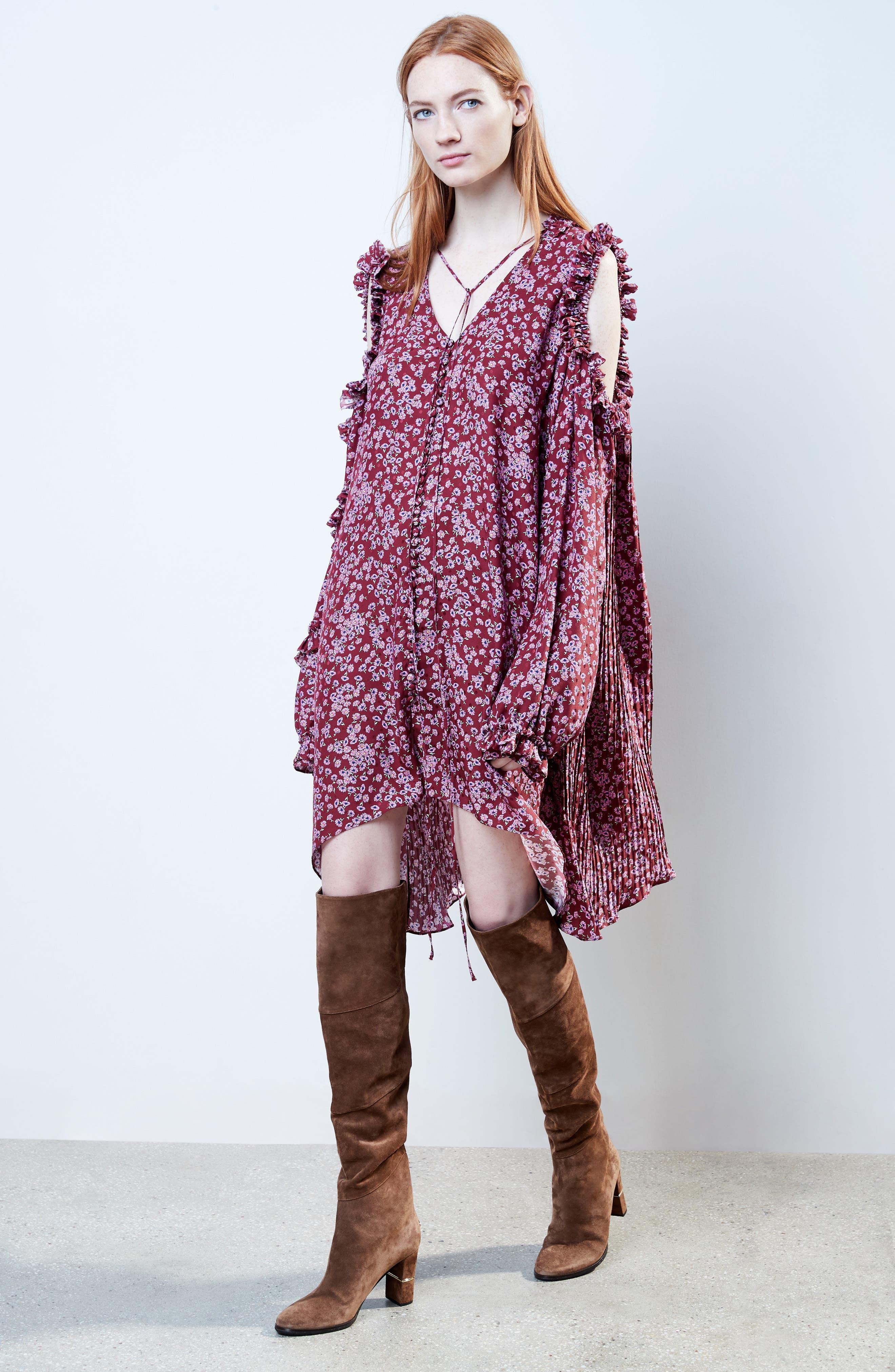 Floral Silk Cold Shoulder Dress,                             Alternate thumbnail 2, color,                             Bordeaux