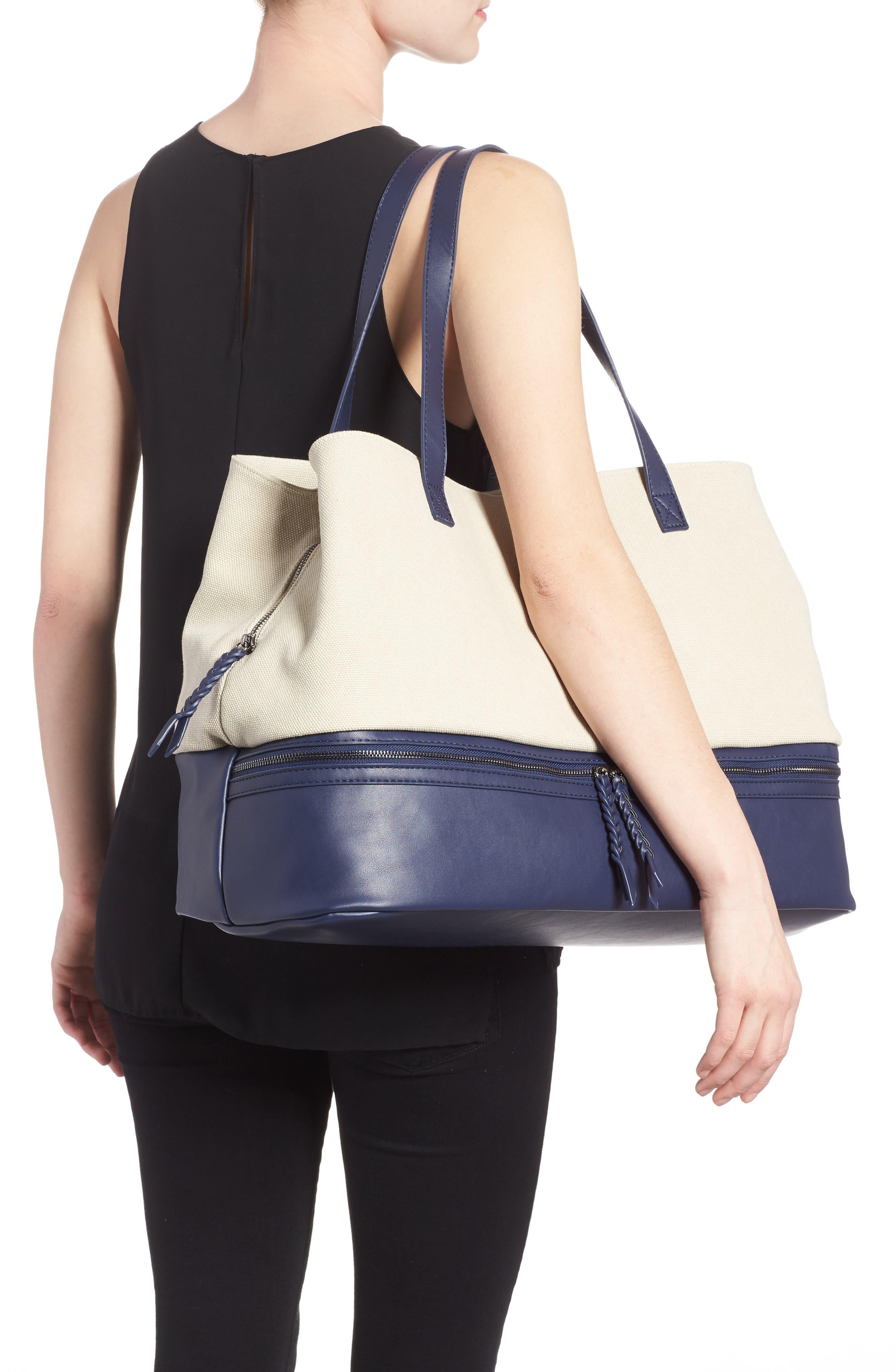 Two Toned Weekender Bag,                             Alternate thumbnail 2, color,                             Cream/ Navy