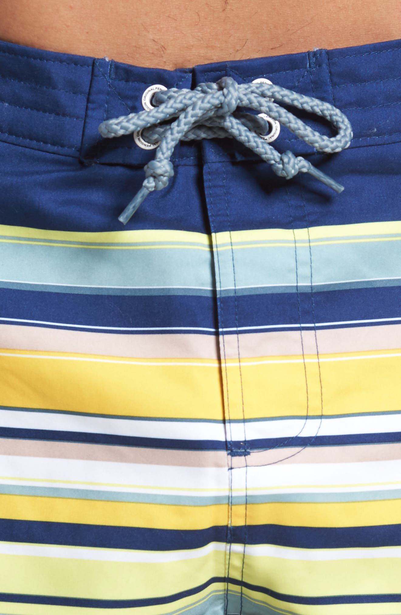 Stripe Fixed Volley Board Shorts,                             Alternate thumbnail 4, color,                             Blue Depths