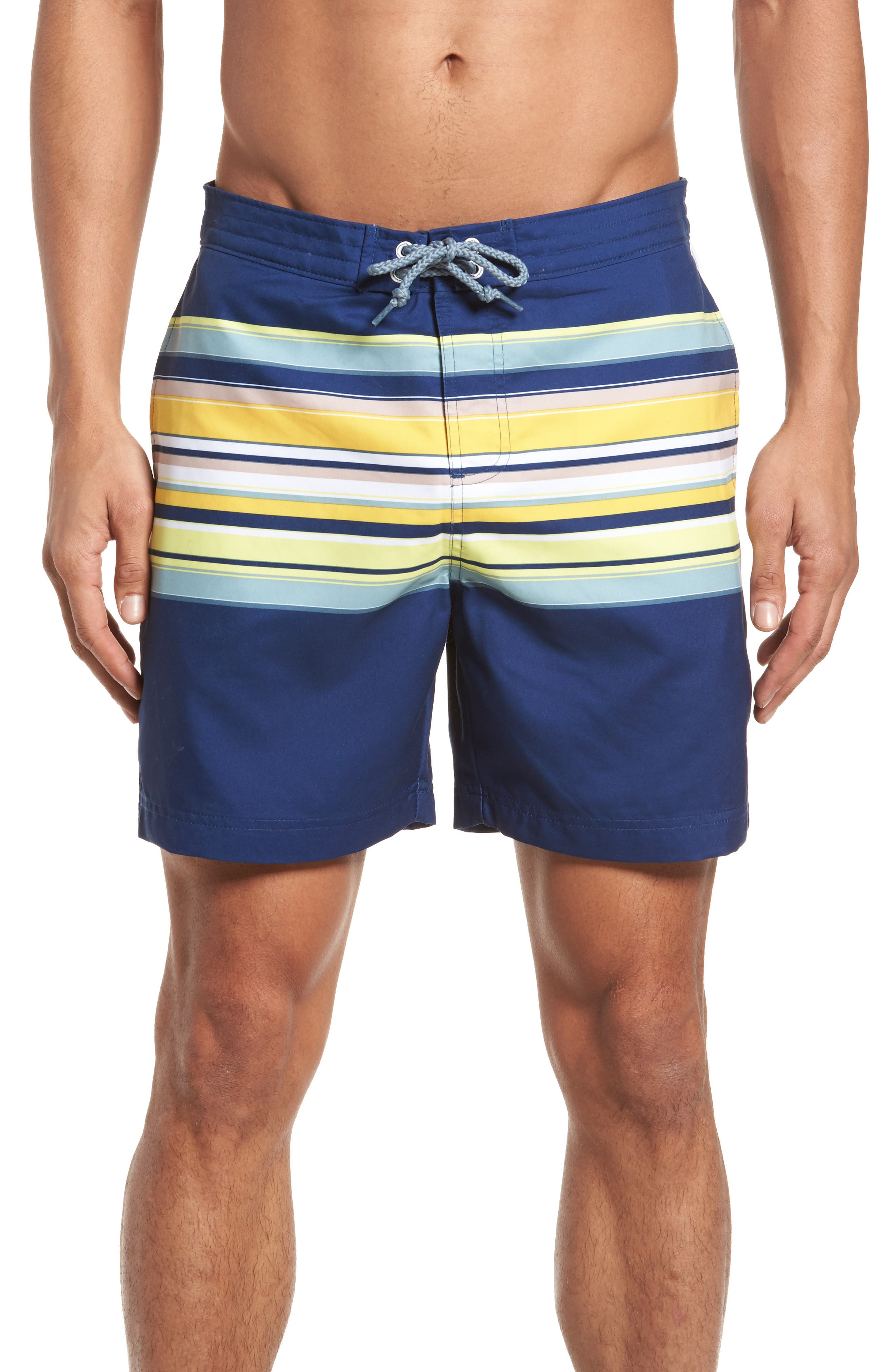 Stripe Fixed Volley Board Shorts,                             Main thumbnail 1, color,                             Blue Depths